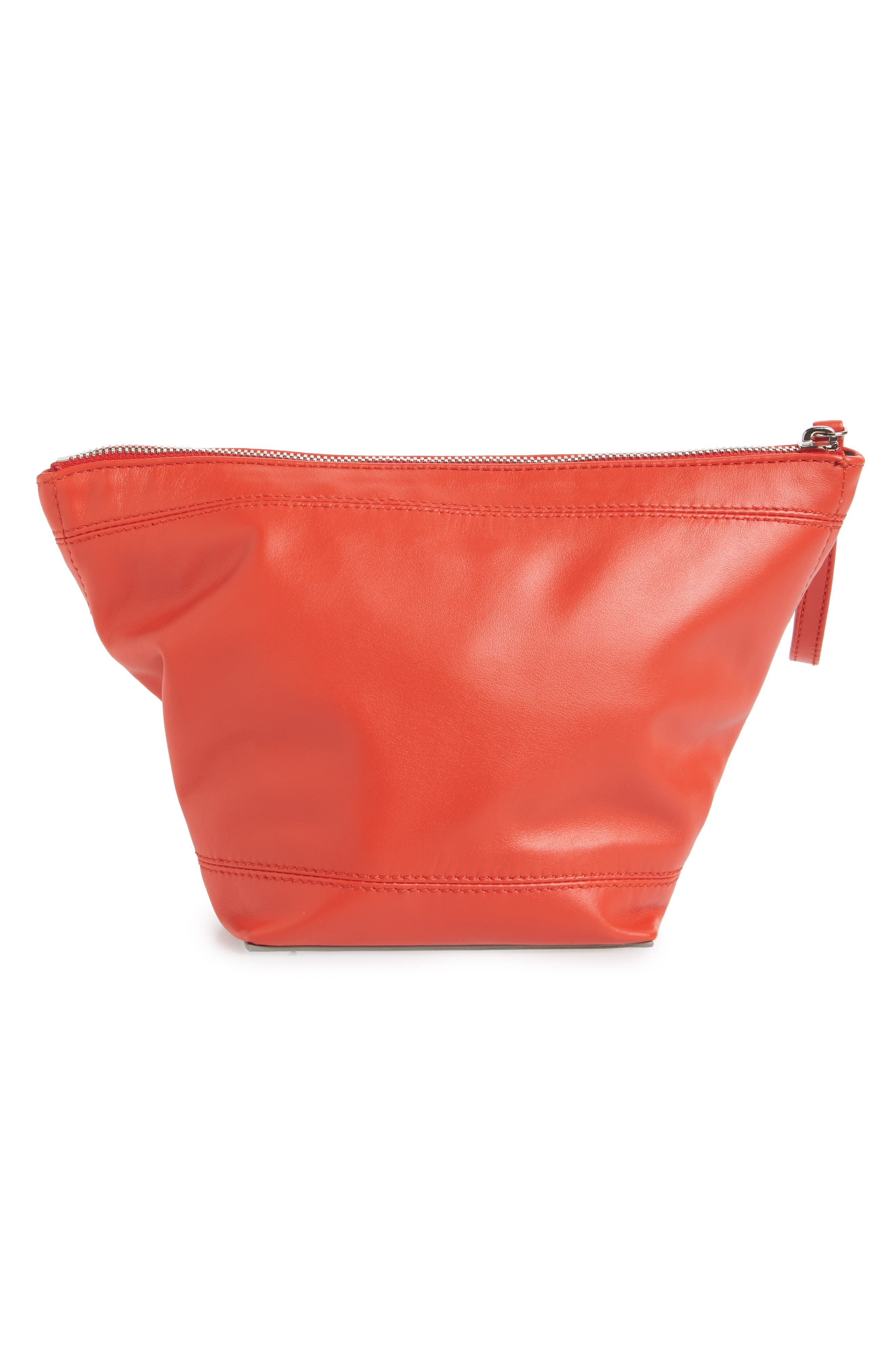 Large Calfskin Leather Cosmetics Bag,                             Alternate thumbnail 2, color,                             RED/ SILVER