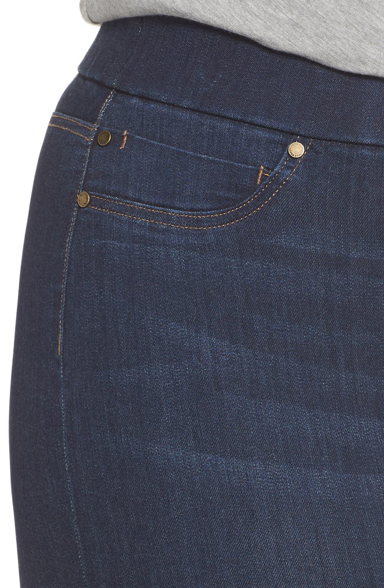 Sienna Pull-On Denim Capri Pants,                             Alternate thumbnail 4, color,                             GRIFFITH SUPER DARK