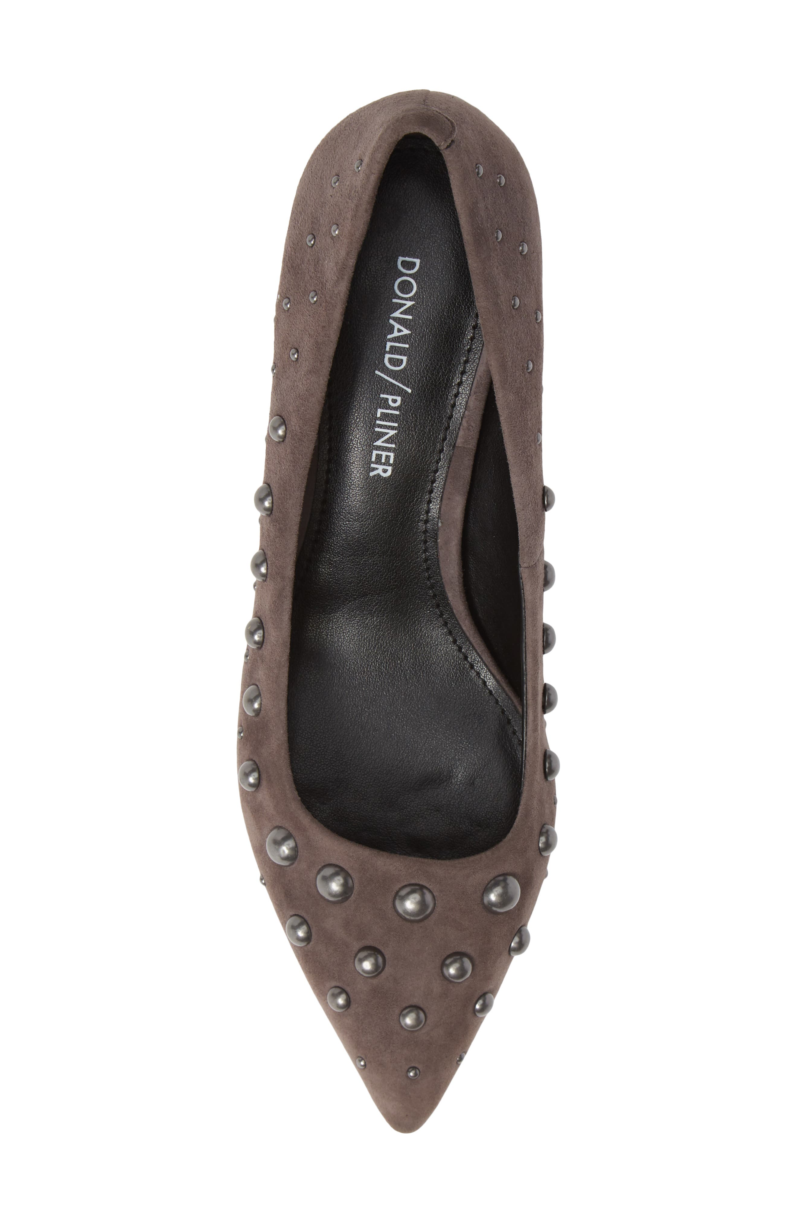 Bazie Studded Pump,                             Alternate thumbnail 5, color,                             GREY SUEDE
