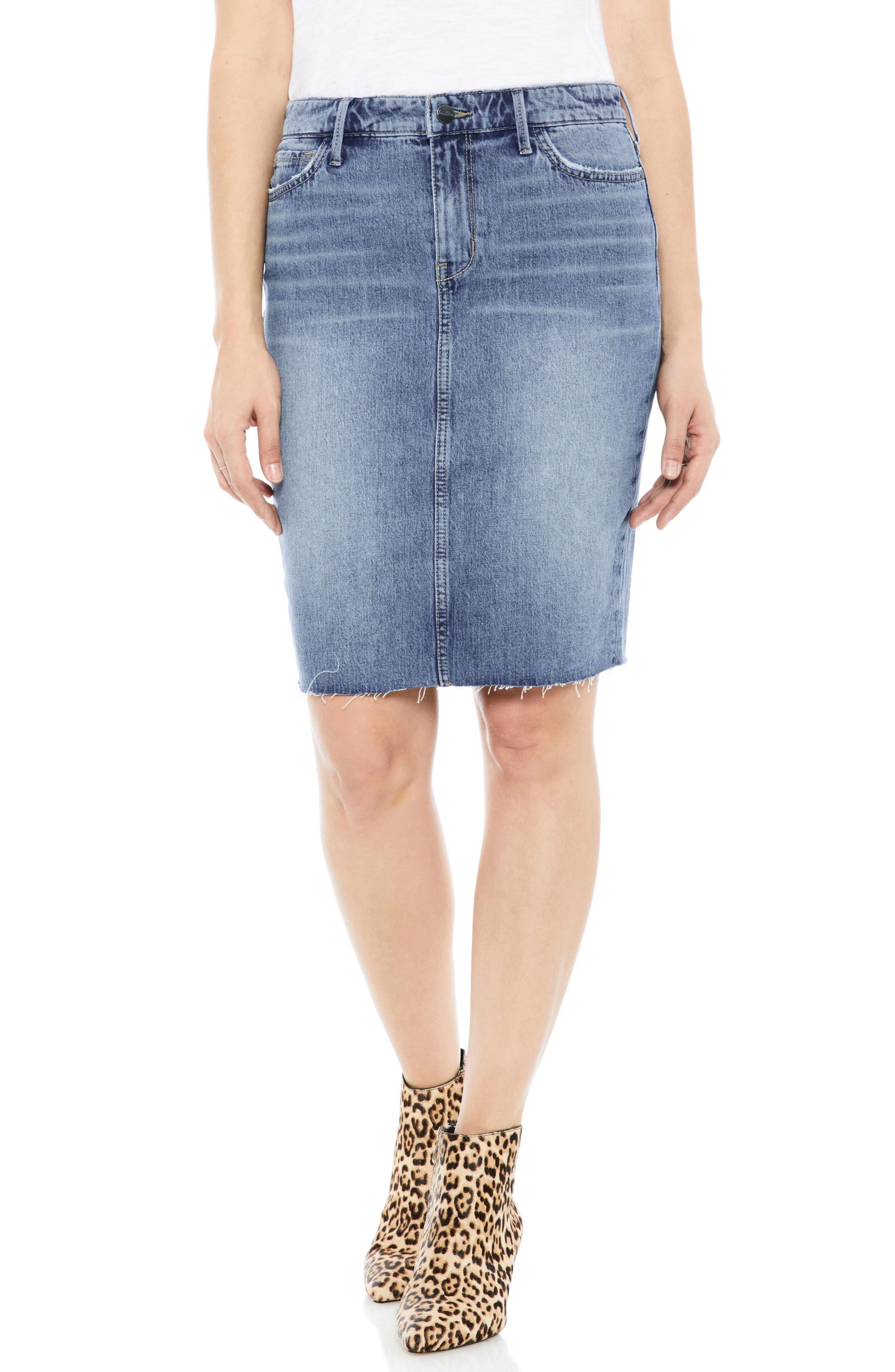 The Riley Stretch Denim Skirt,                             Main thumbnail 1, color,                             450