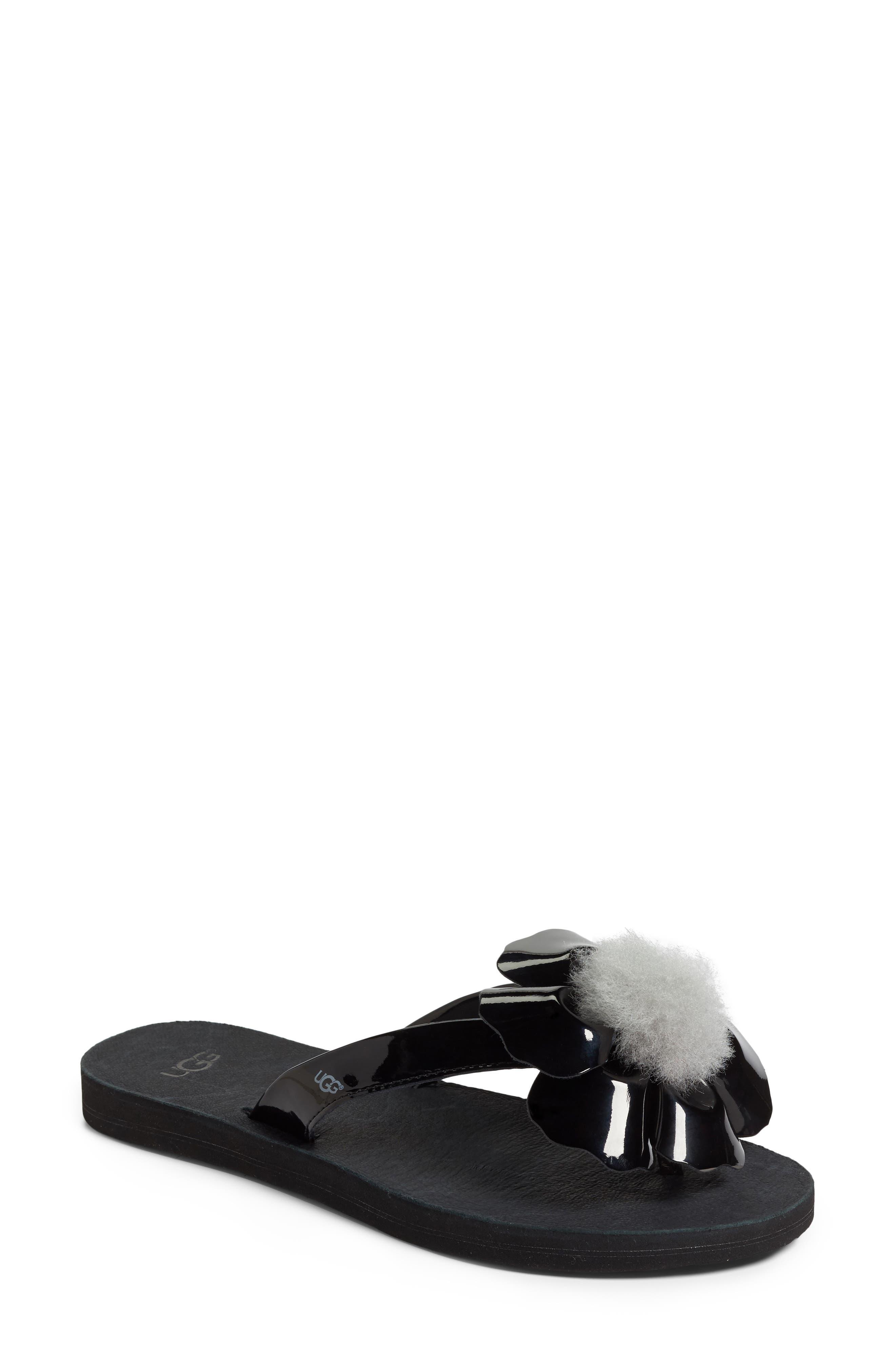 Poppy Genuine Shearling Pompom Flip Flop,                             Main thumbnail 1, color,                             001