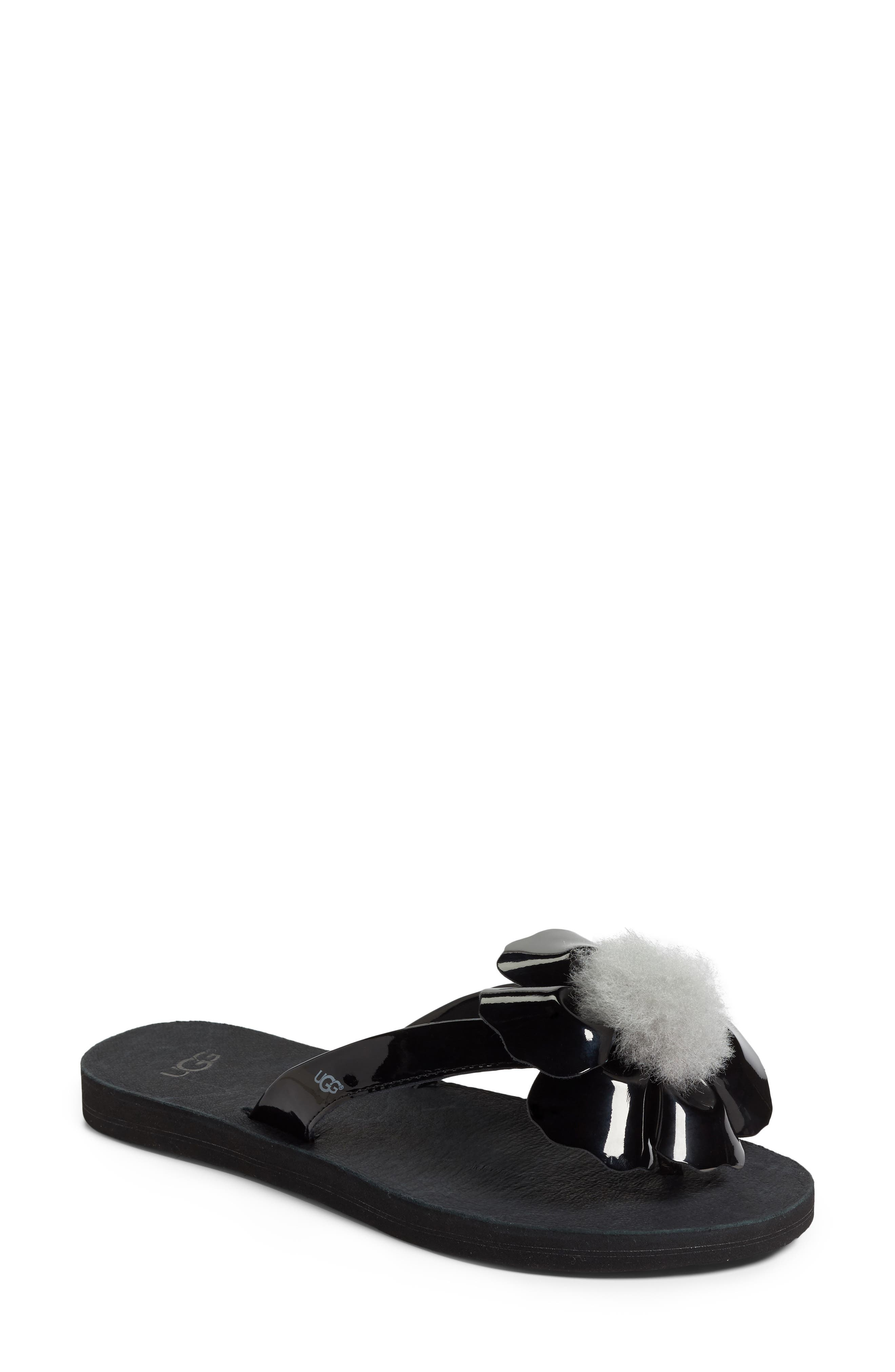 Poppy Genuine Shearling Pompom Flip Flop,                         Main,                         color, 001