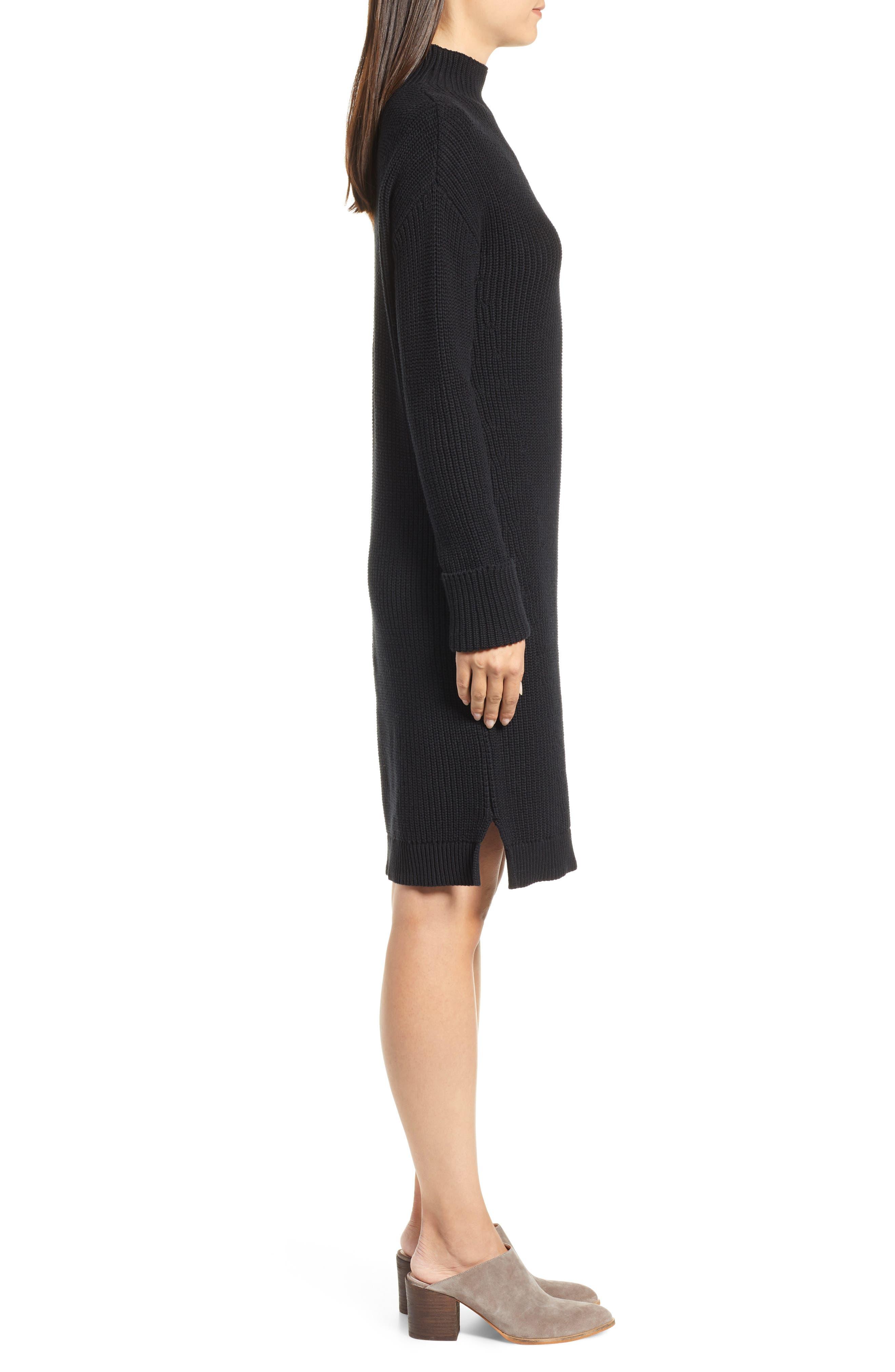 Ribbed Sweater Dress,                             Alternate thumbnail 3, color,                             BLACK