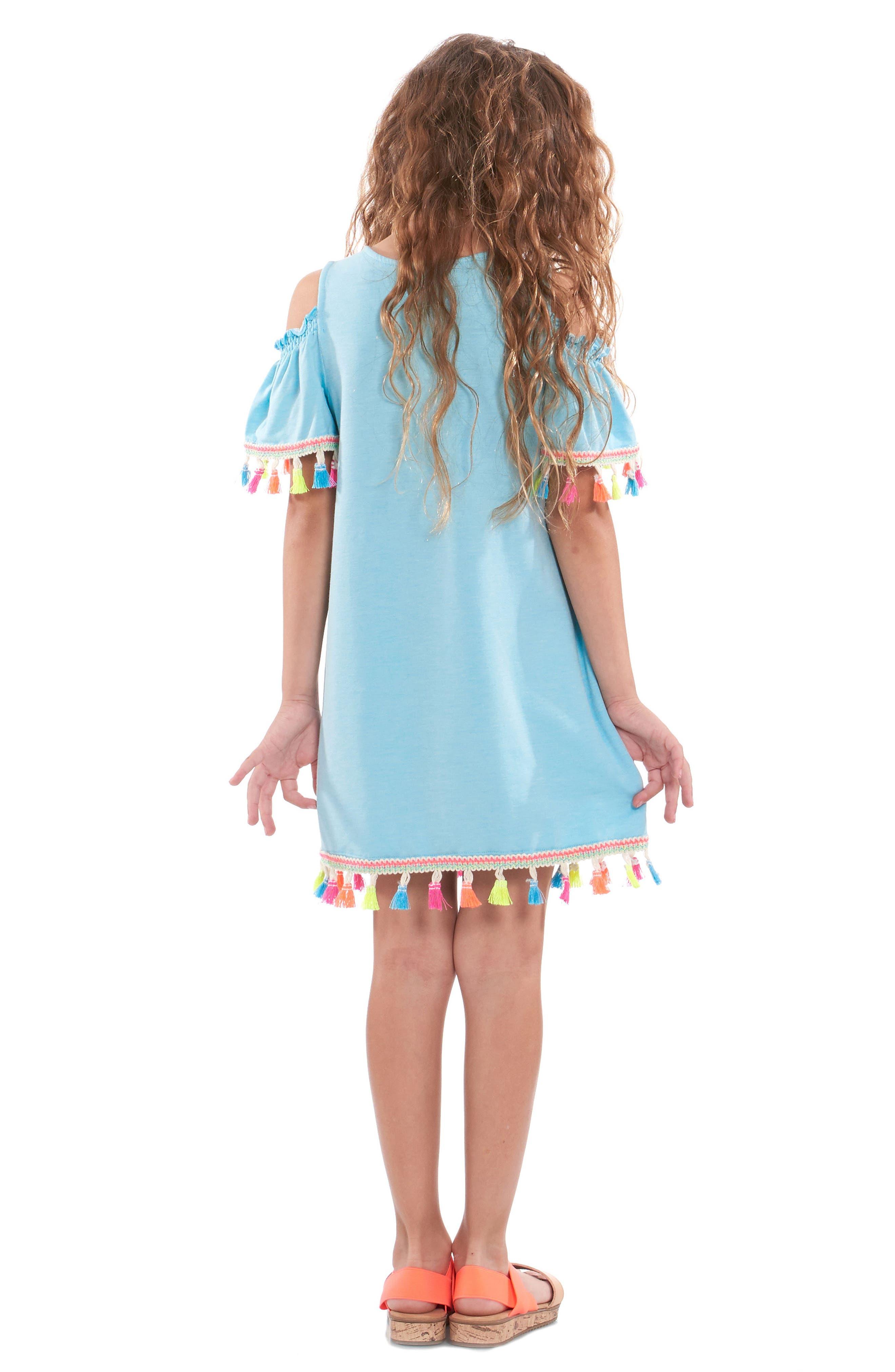 Tassel Cold Shoulder Dress,                             Alternate thumbnail 2, color,                             460