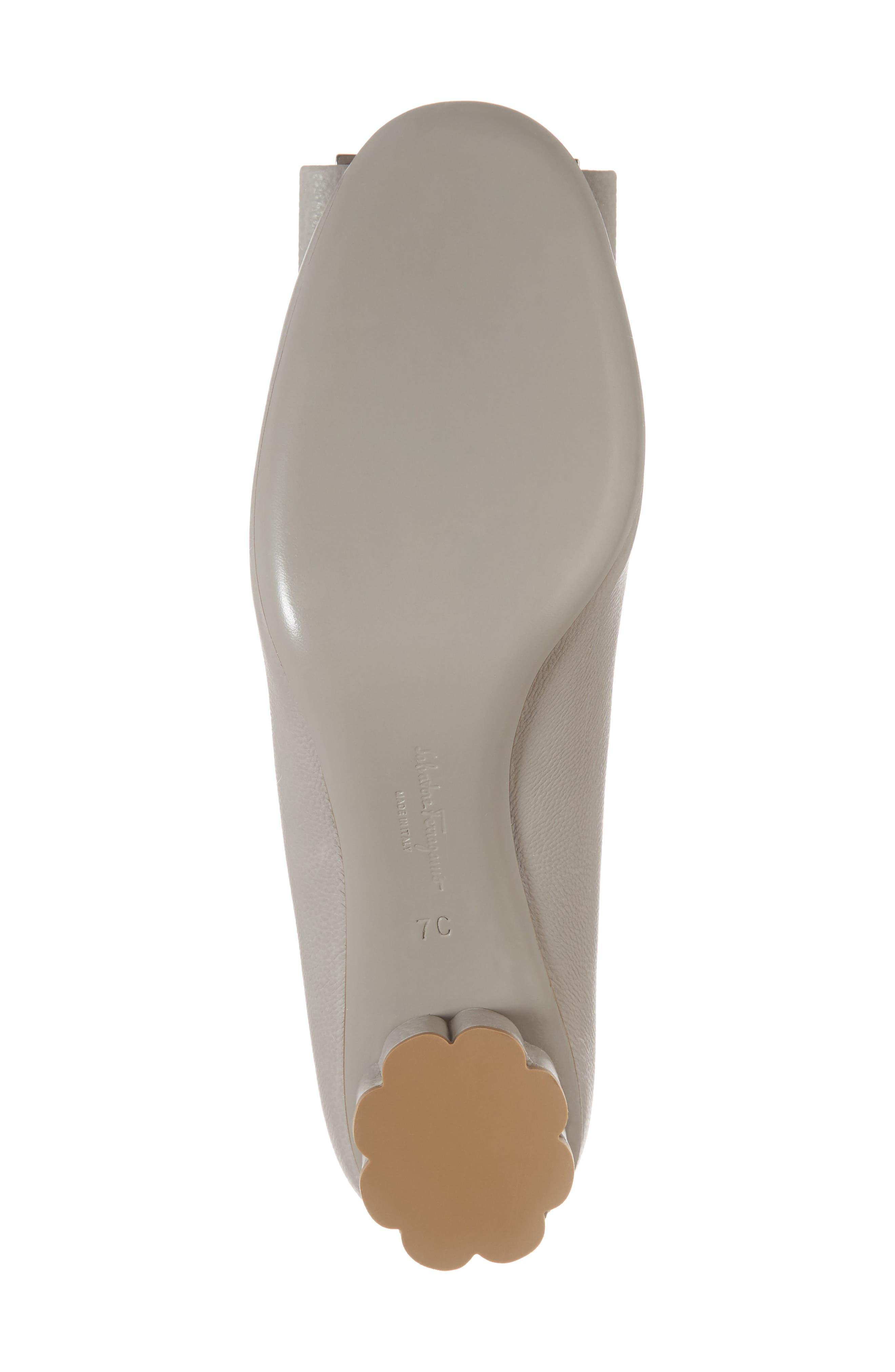 Capua Bow Flower Heel Pump,                             Alternate thumbnail 6, color,                             PALE GREY