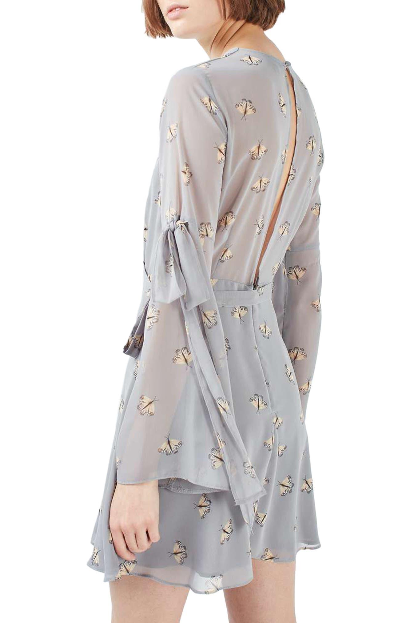 Moth Print Skater Dress,                             Alternate thumbnail 2, color,                             050