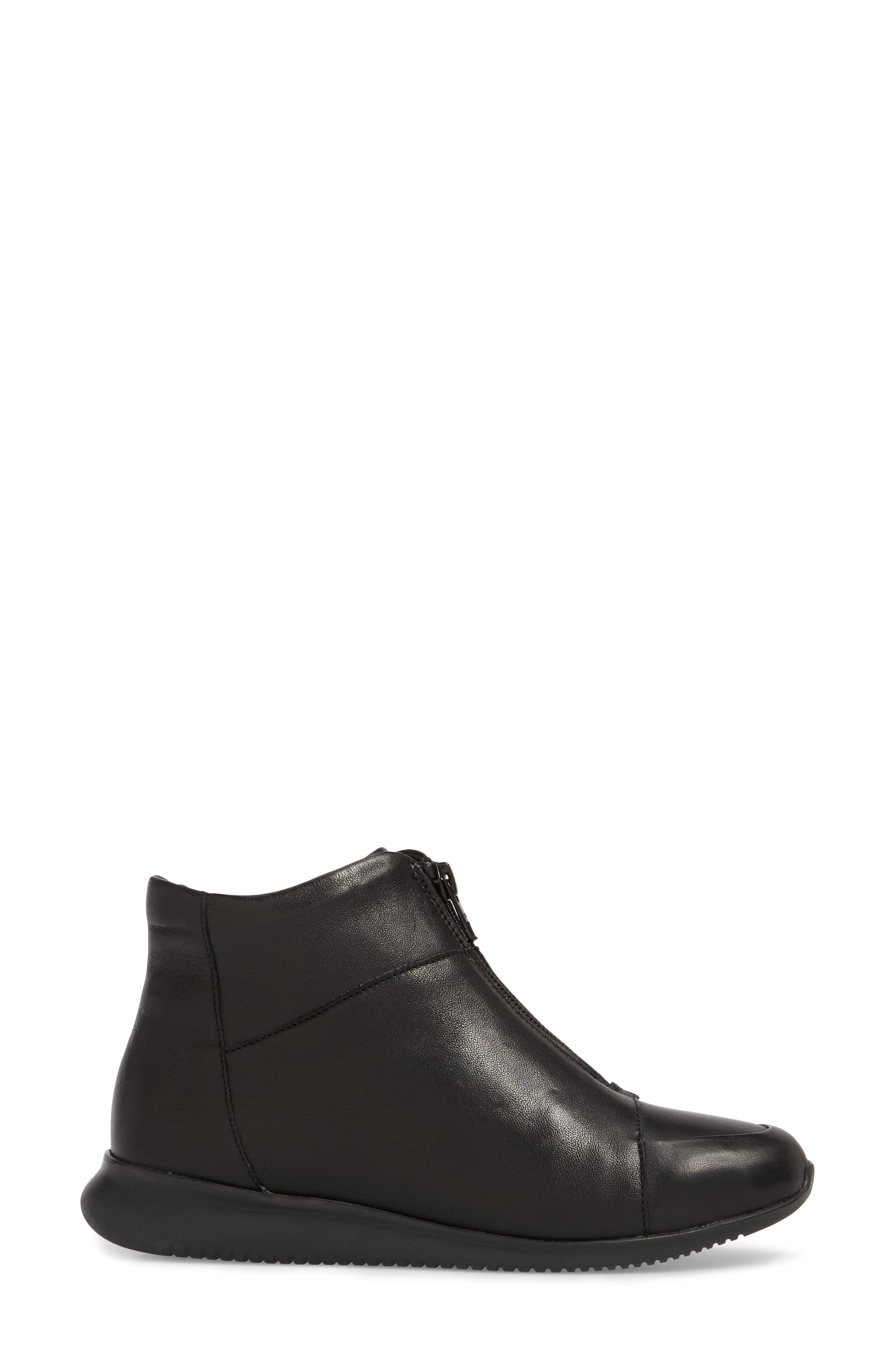 Roy Wool Lined Cap Toe Bootie,                             Alternate thumbnail 3, color,                             BLACK LEATHER