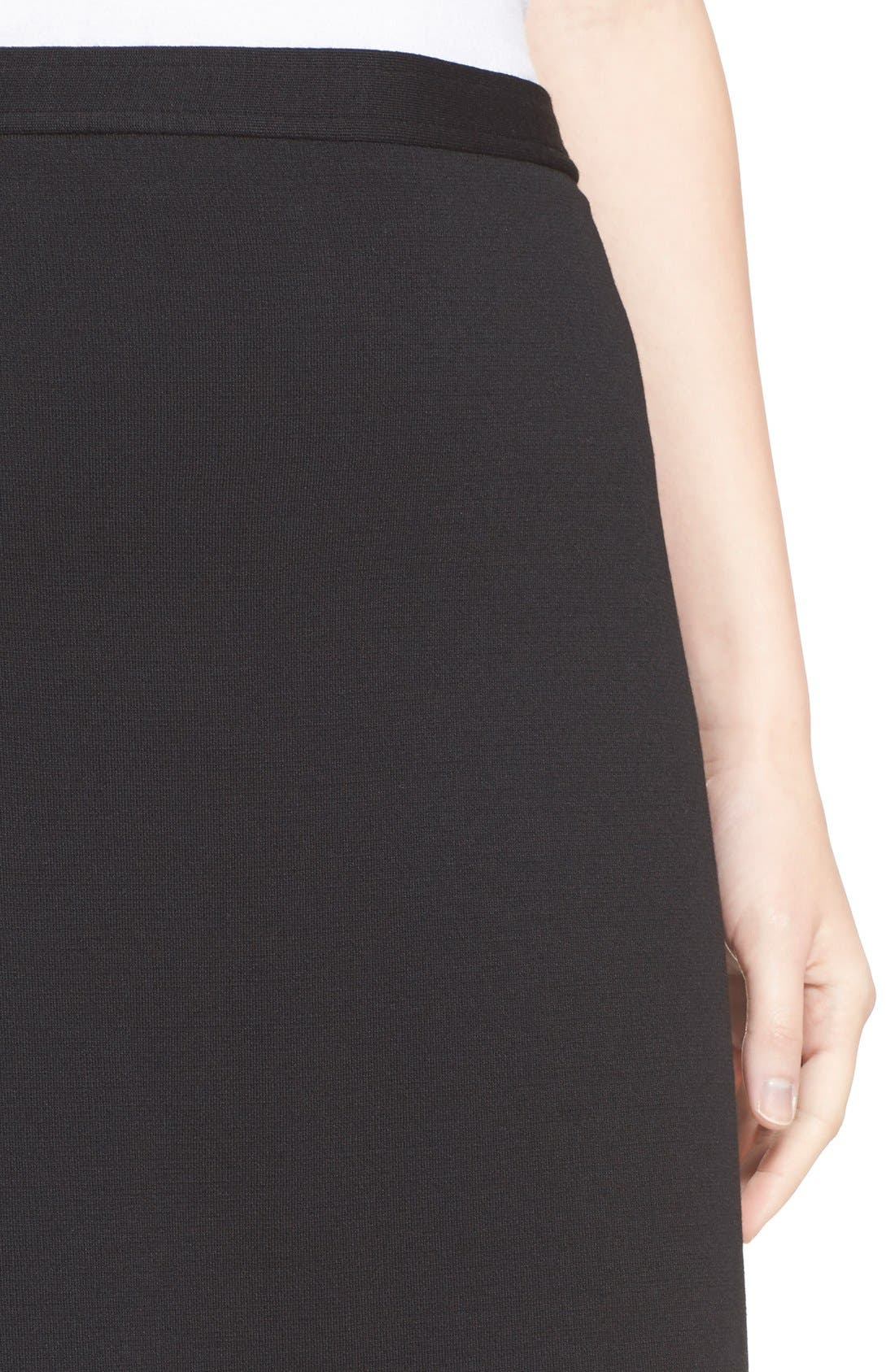 Milano Knit Pencil Skirt,                             Alternate thumbnail 6, color,                             CAVIAR