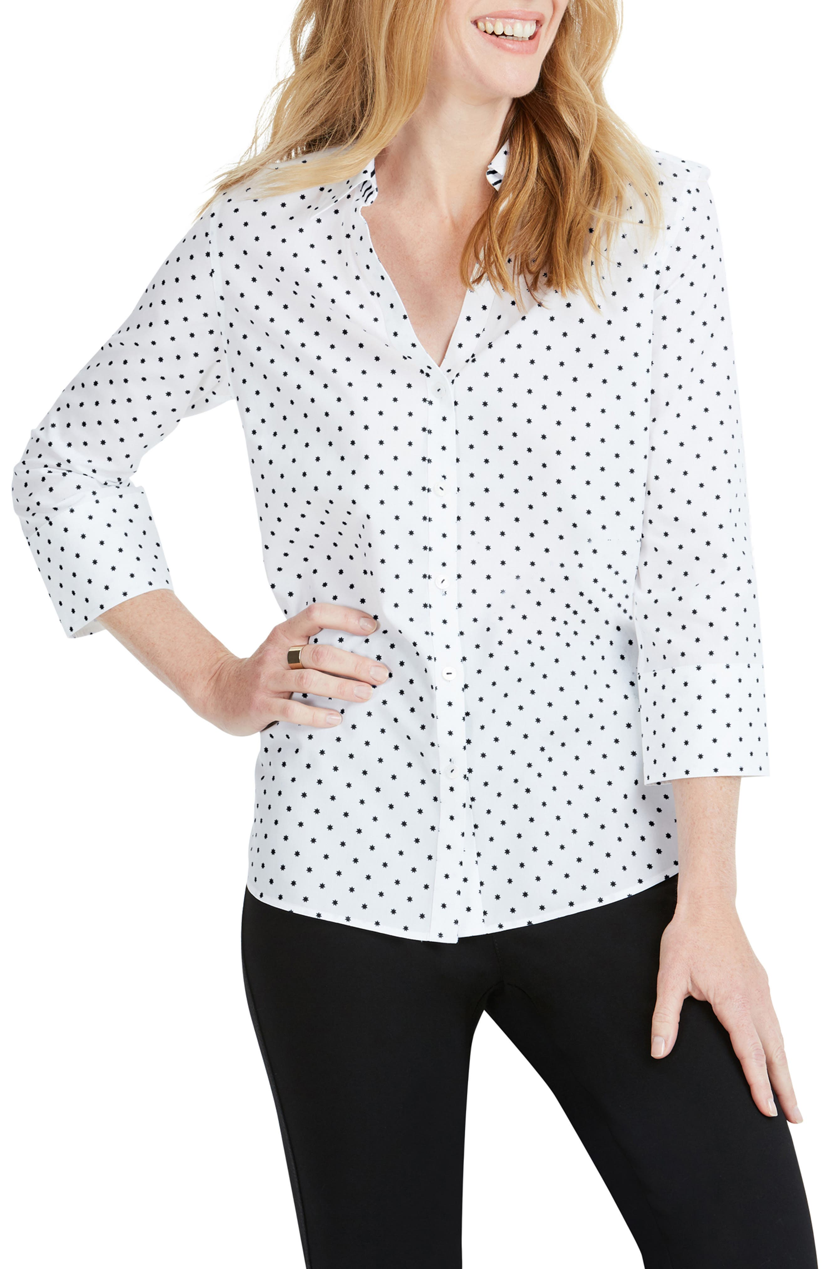 Mary Star Dot Shirt, Main, color, BLACK