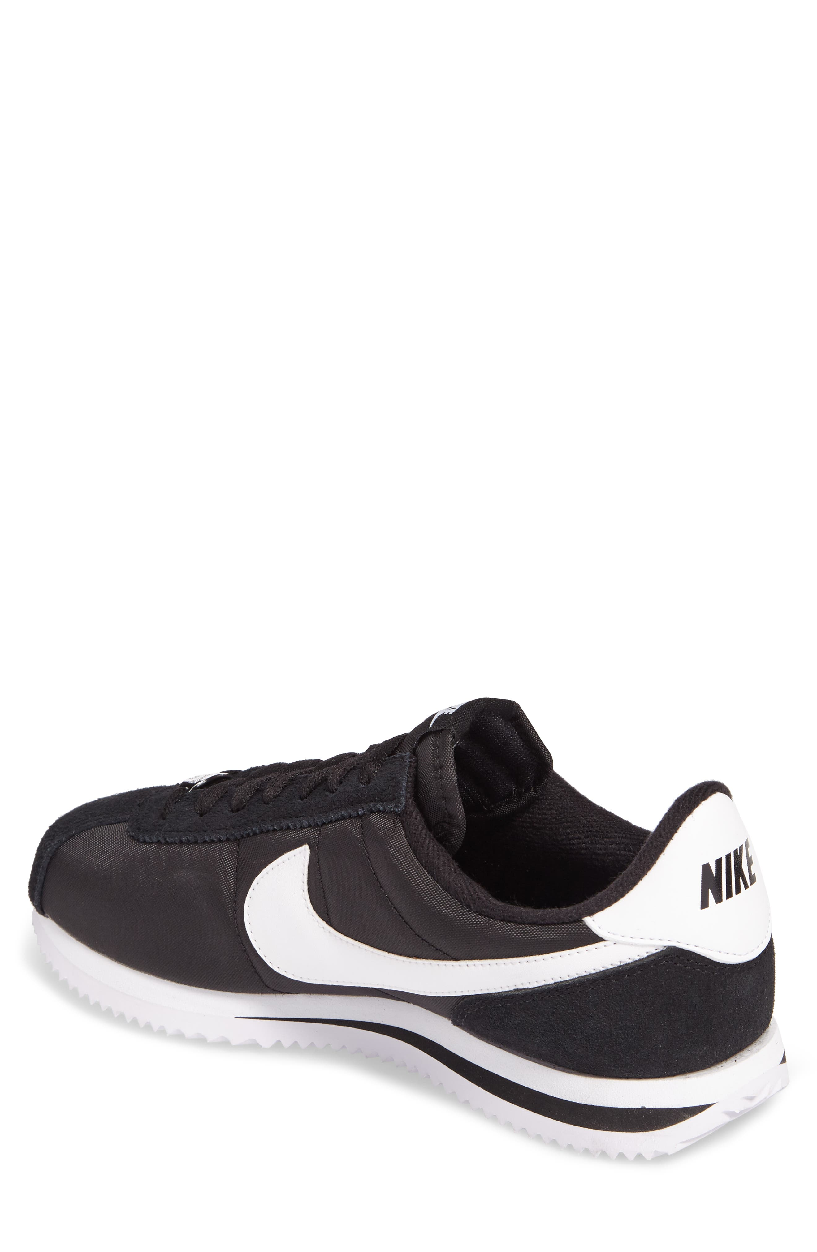 Cortez Basic Nylon Sneaker,                             Alternate thumbnail 2, color,                             BLACK/WHITE/METALLIC SILVER