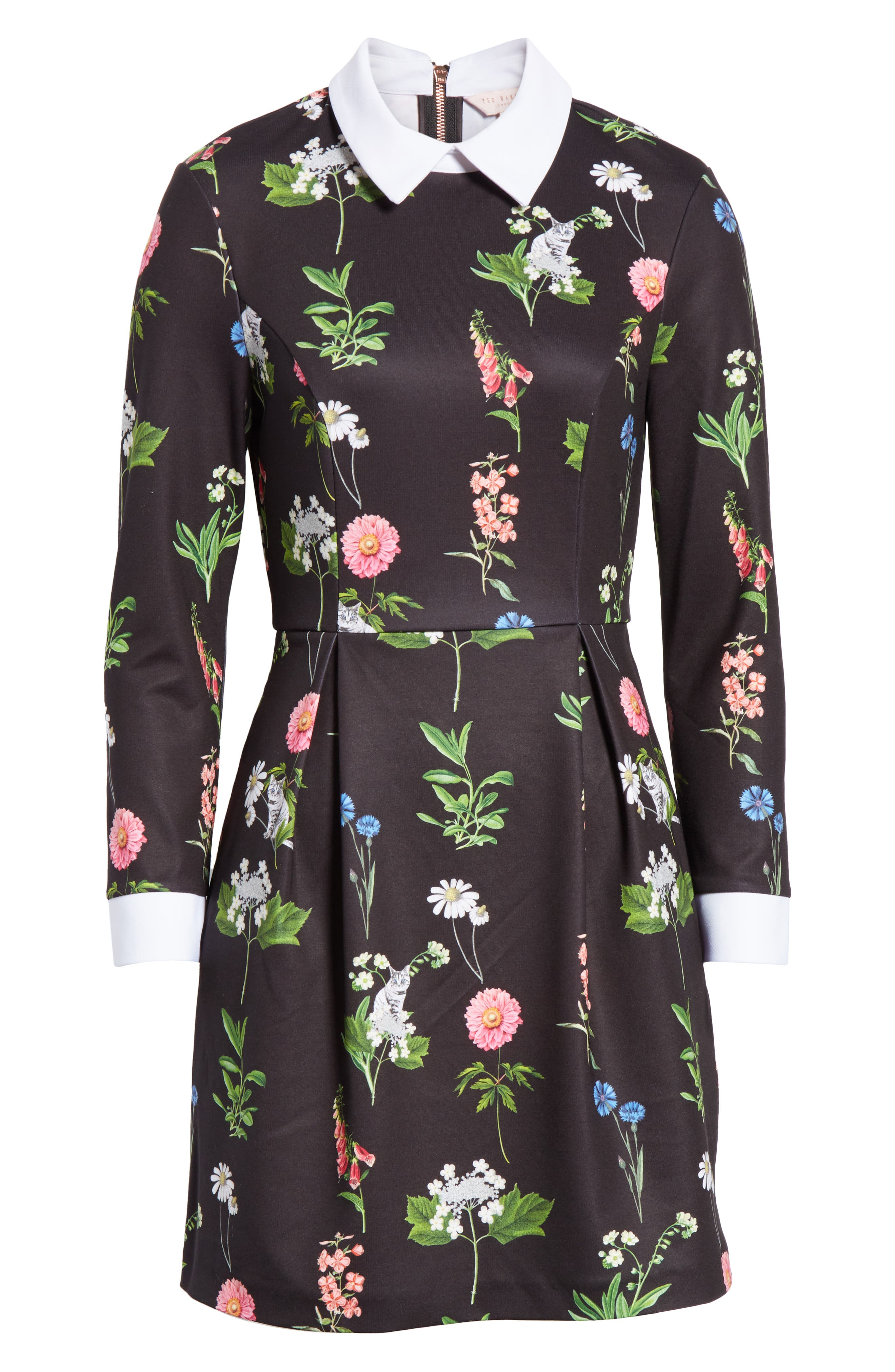 Matredi Florence Point Collar Dress,                             Alternate thumbnail 6, color,                             001