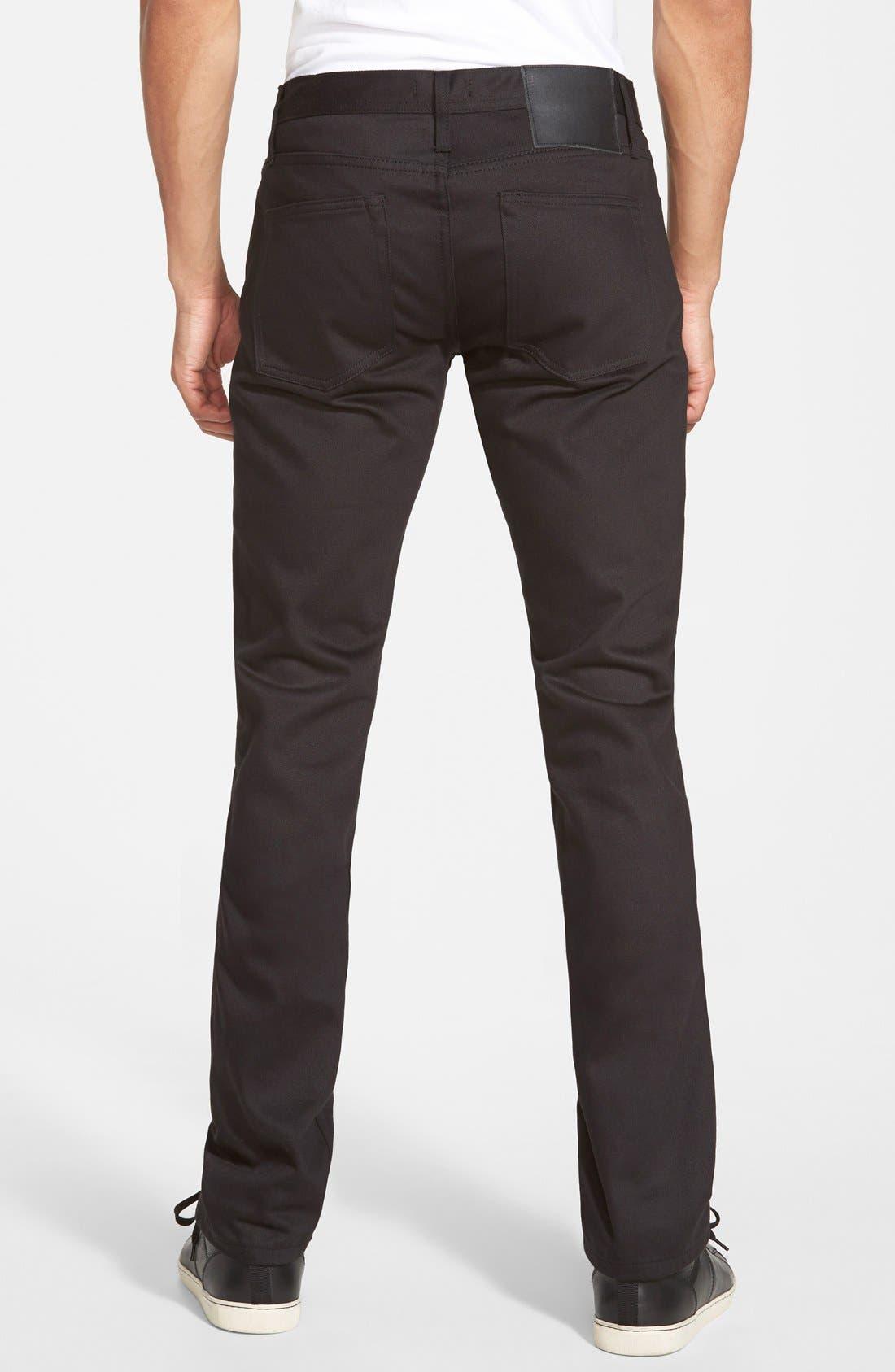 'UB155' Skinny Fit Raw Selvedge Jeans,                             Alternate thumbnail 2, color,                             001