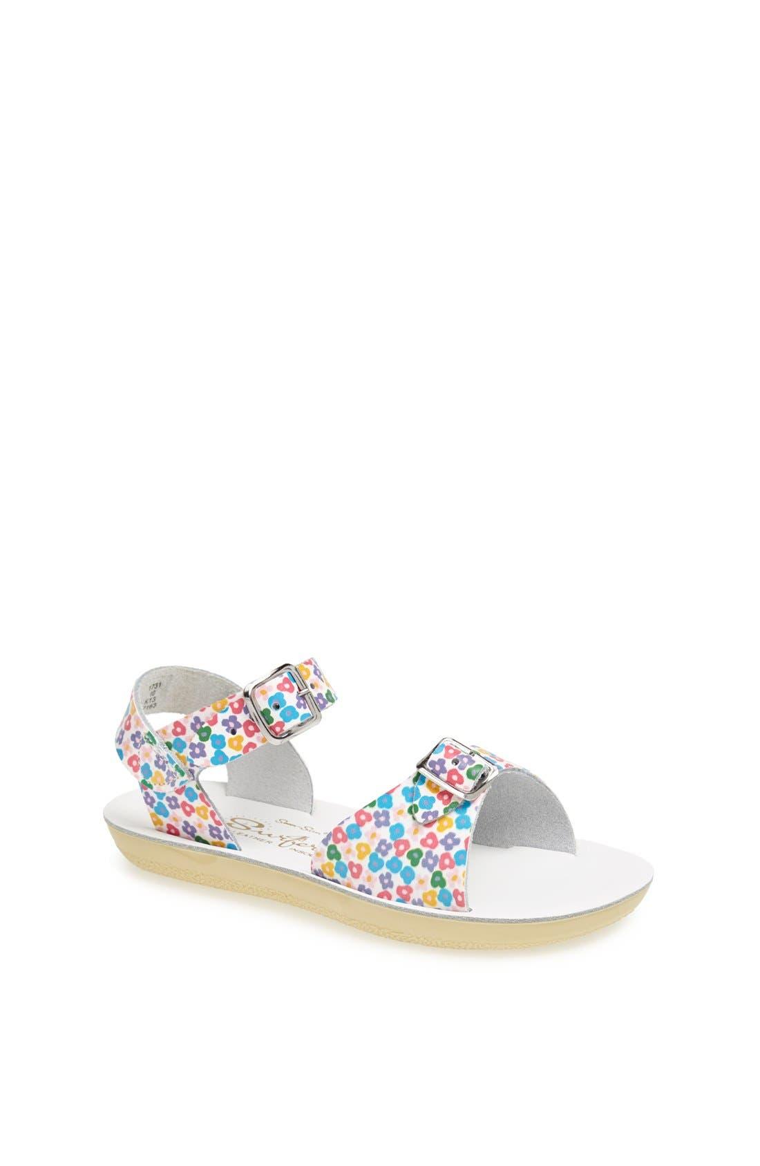 Shoe Company 'Floral Surfer' Sandal,                             Main thumbnail 1, color,                             100