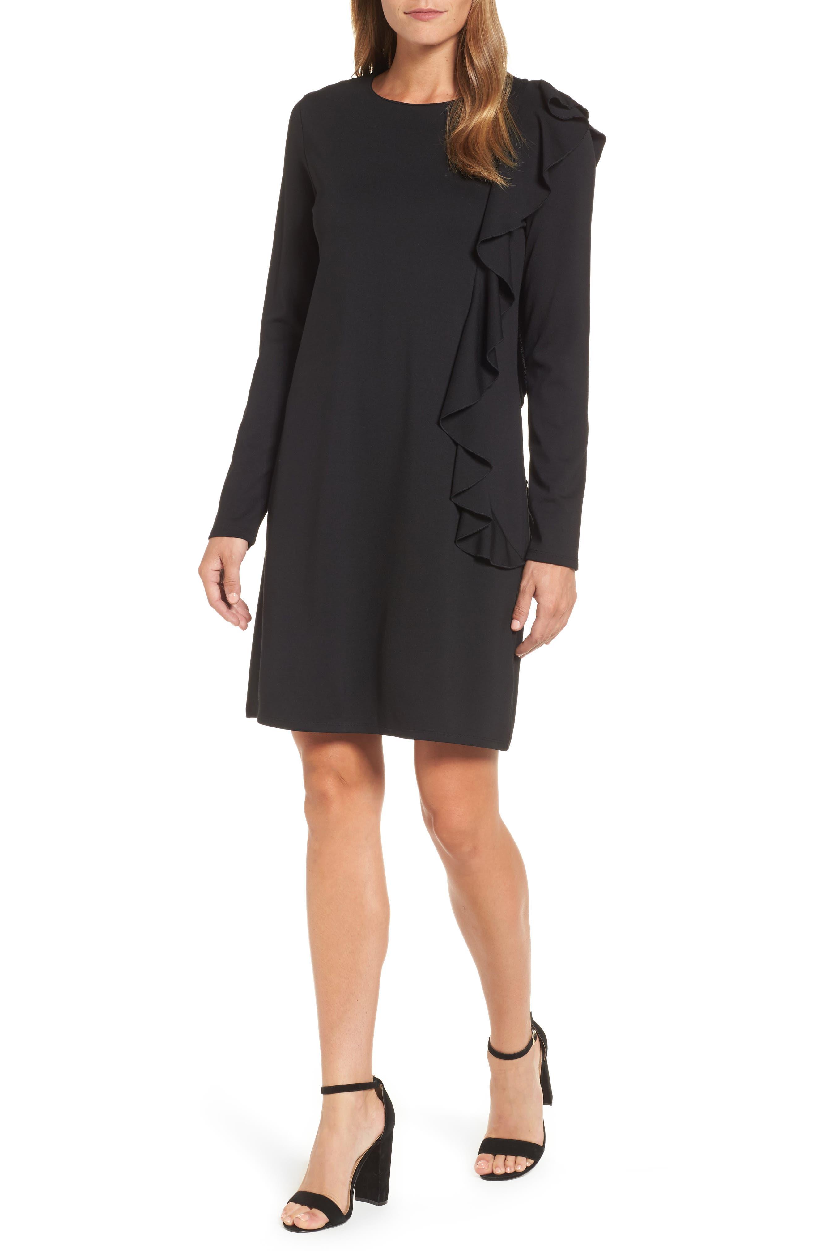 Halogen Ruffle Shift Dress,                         Main,                         color, 001