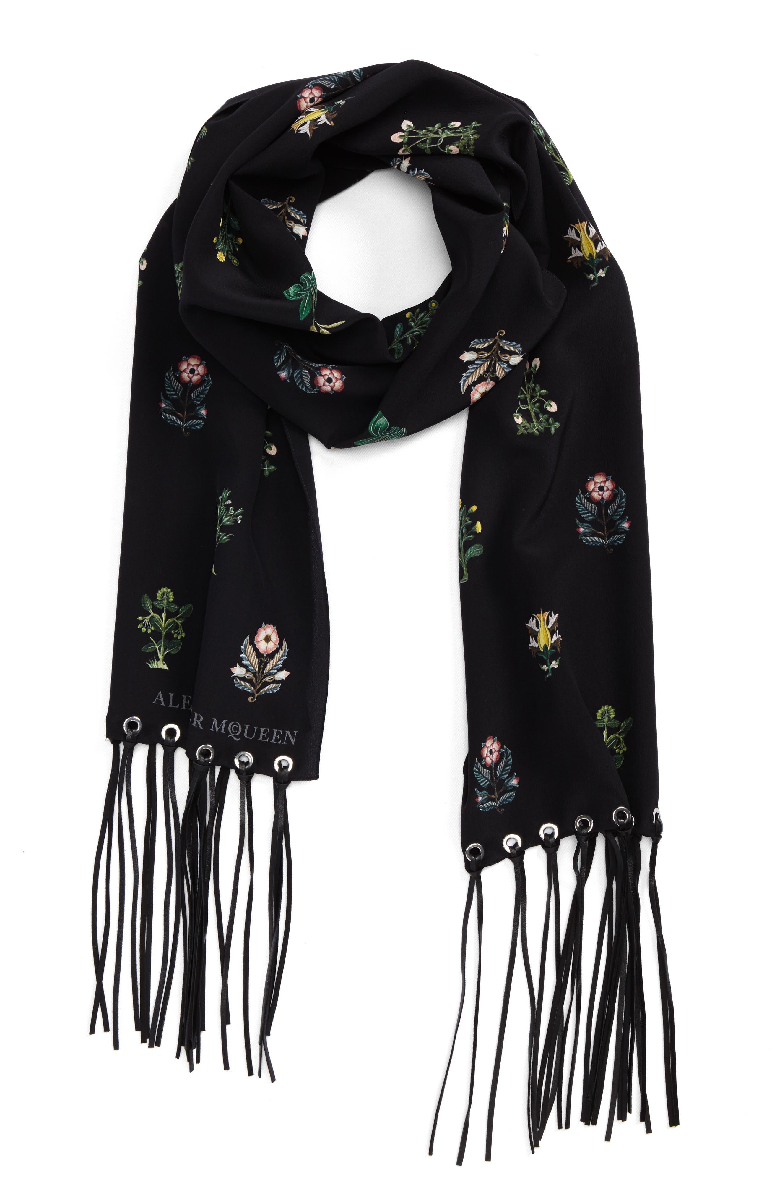 ALEXANDER MCQUEEN,                             Medieval Flower Skinny Silk Scarf,                             Alternate thumbnail 2, color,                             001
