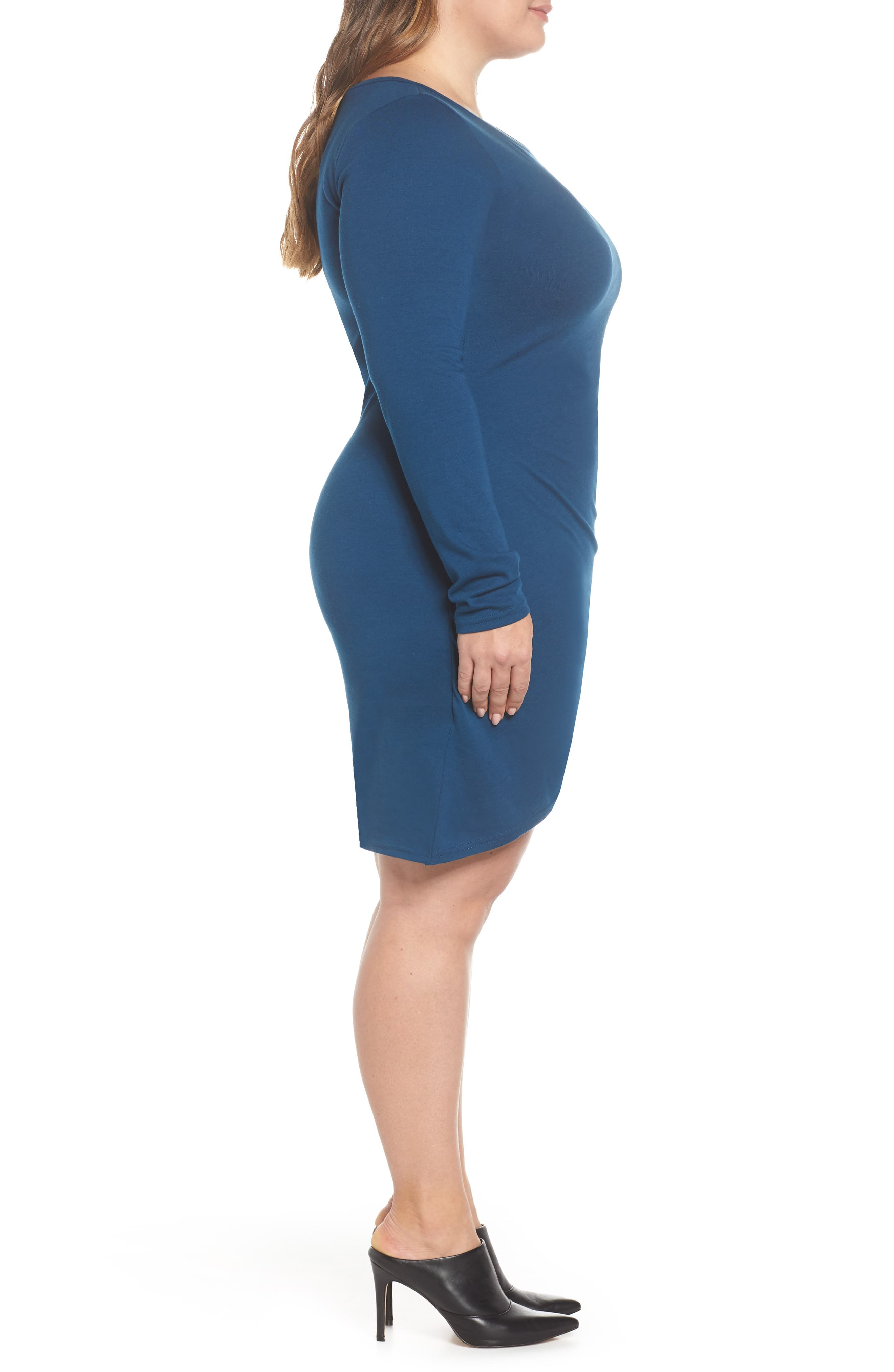 LEITH,                             Ruched Body-Con Dress,                             Alternate thumbnail 4, color,                             BLUE AURORA