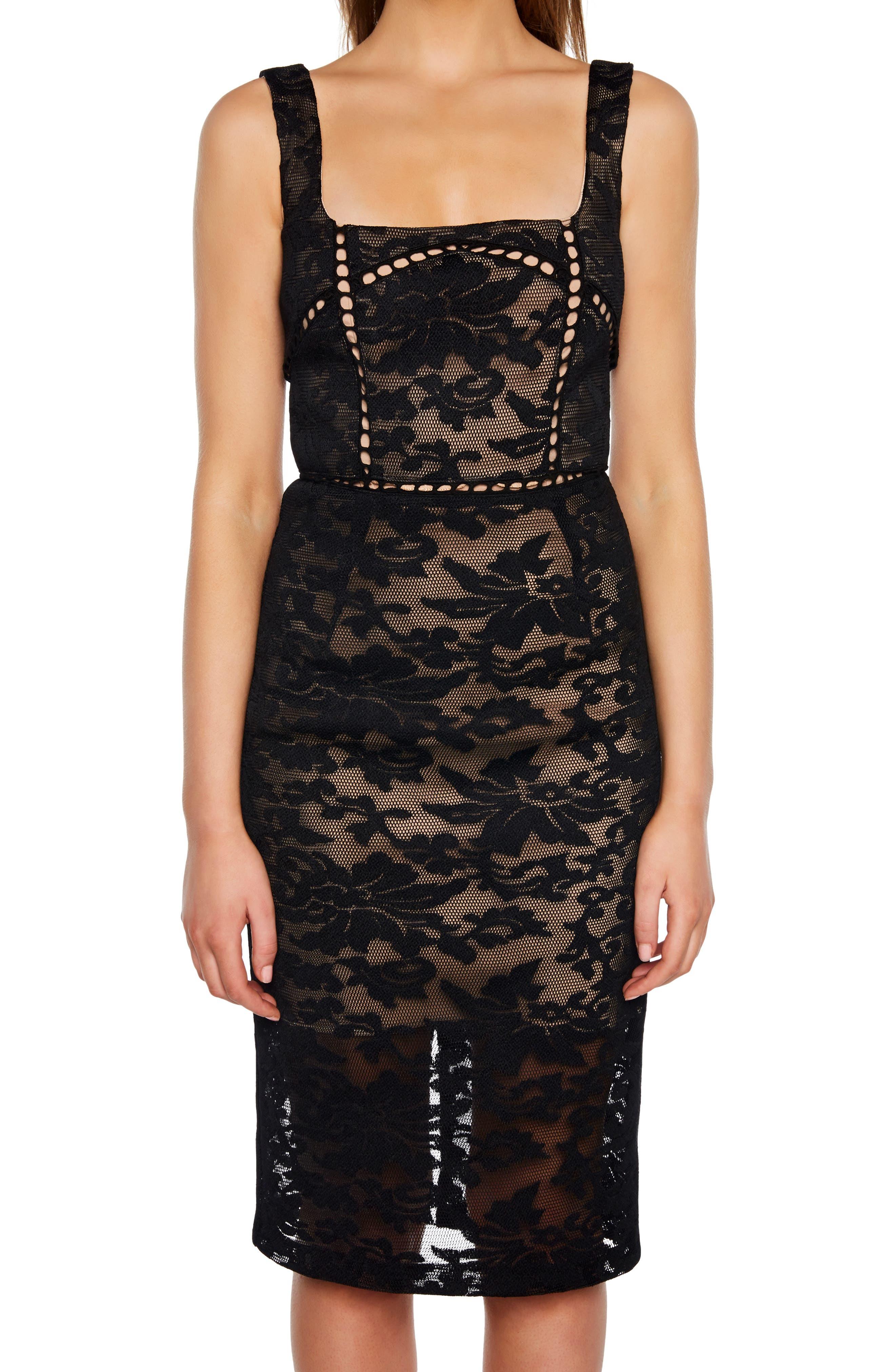 Stella Lace Sheath Dress,                             Alternate thumbnail 4, color,                             BLACK