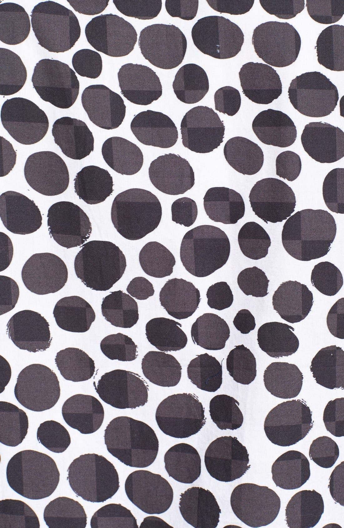 BARNEY COOLS,                             Trim Fit Short Sleeve Pebble Print Oxford Shirt,                             Alternate thumbnail 3, color,                             001