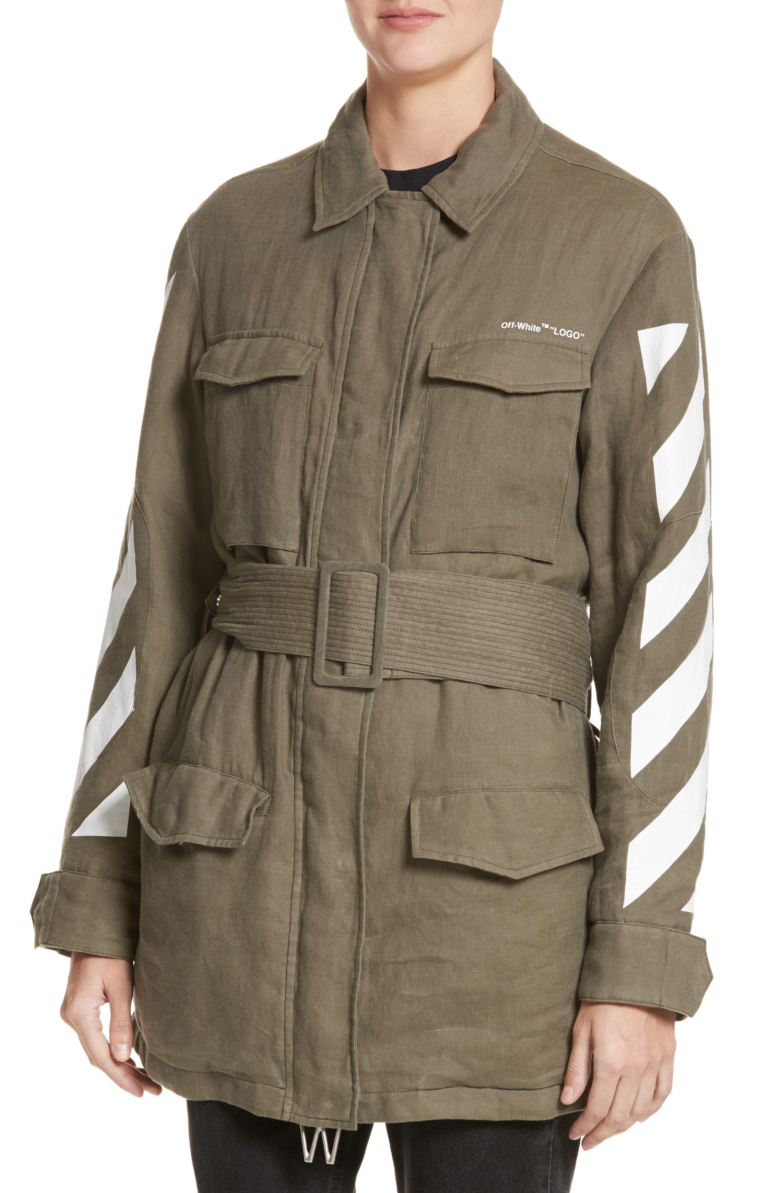 Diagonal Stripe Field Jacket,                             Alternate thumbnail 4, color,                             300