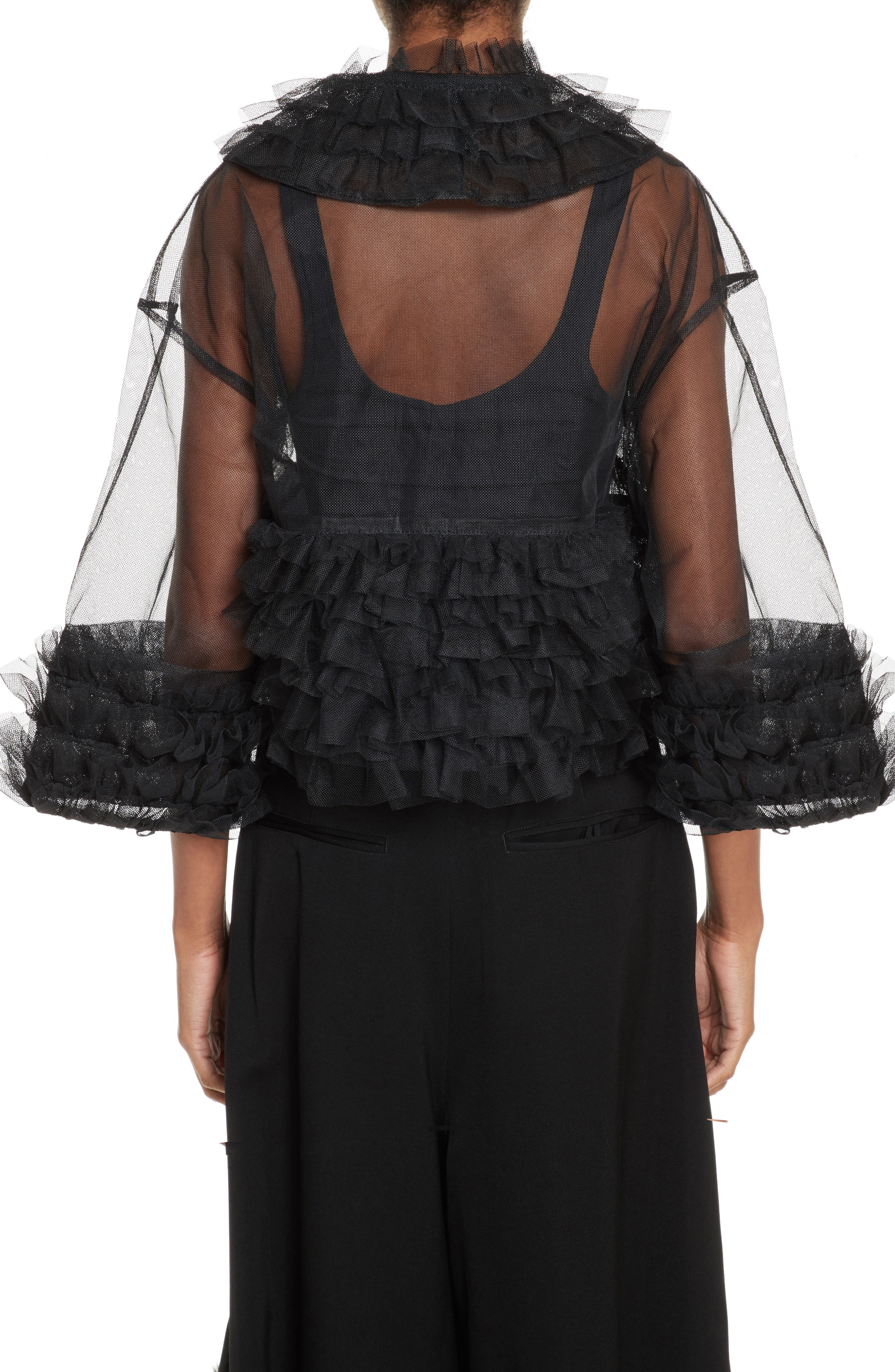 Frilled Tulle Blouse,                             Alternate thumbnail 2, color,                             001