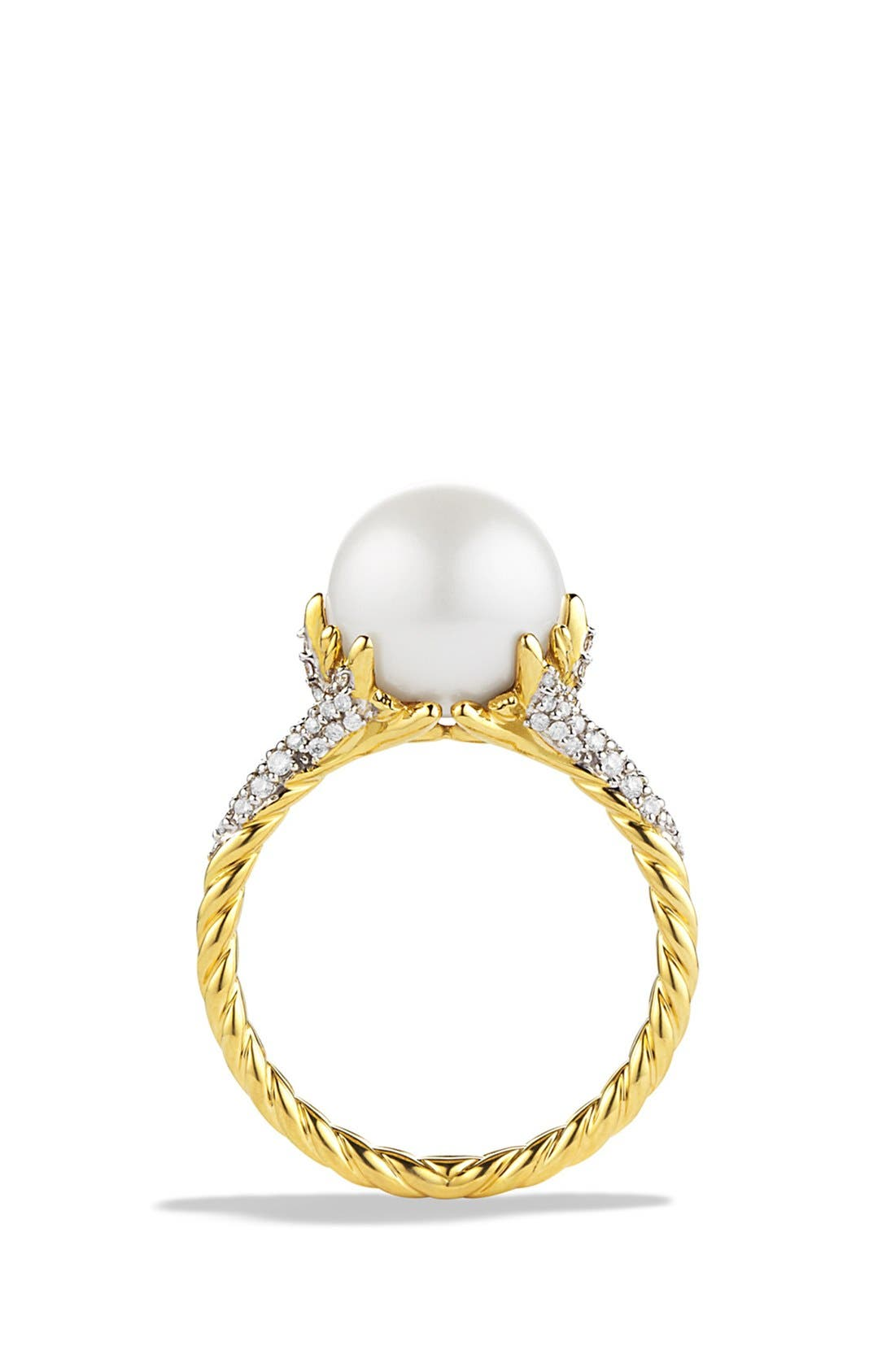 'Starburst' Pearl Ring with Diamonds in Gold,                             Alternate thumbnail 3, color,                             PEARL