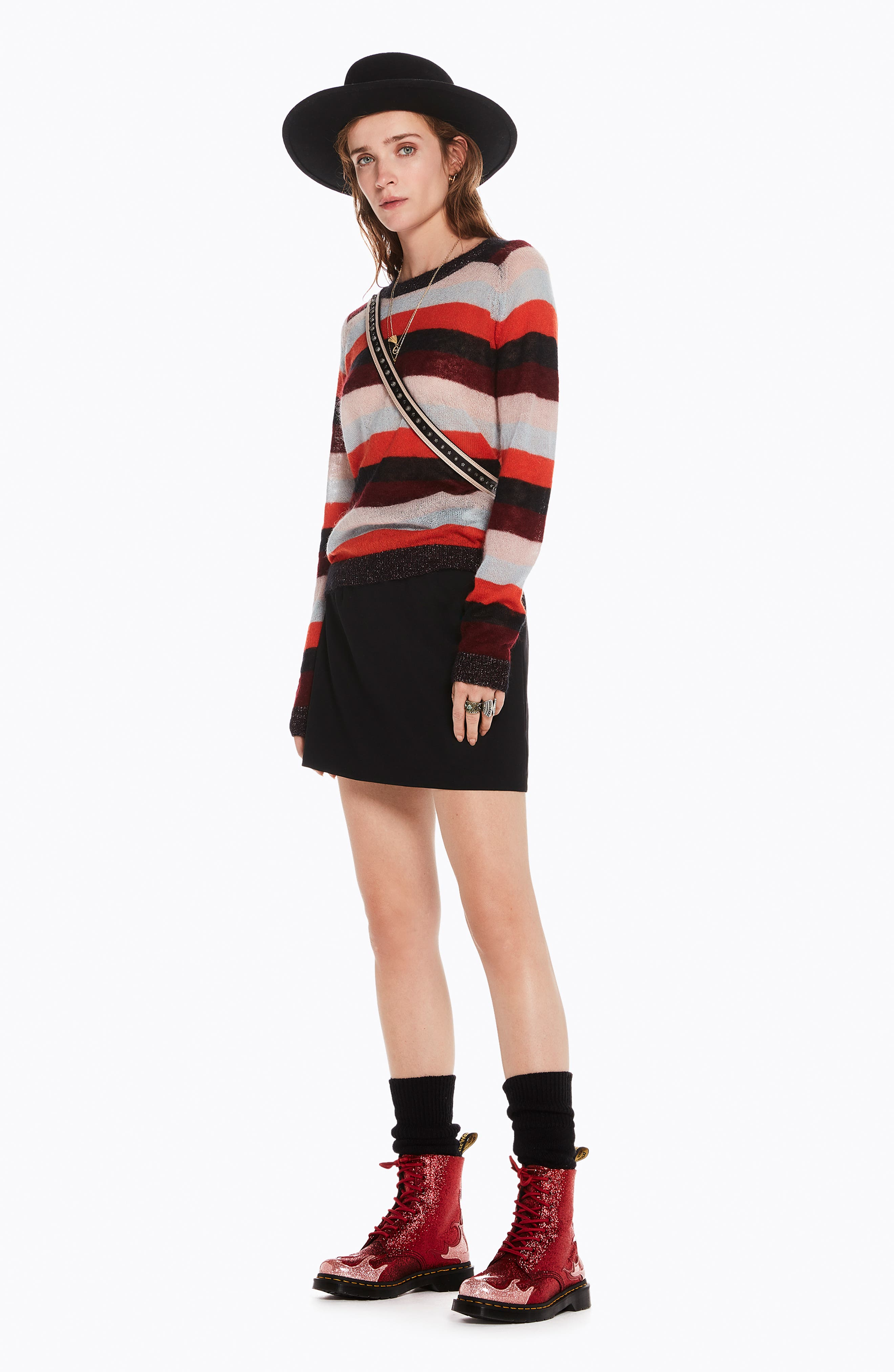 Stripe Sweater,                             Alternate thumbnail 5, color,                             ORANGE BURGUNDY LT BLUE STRIPE