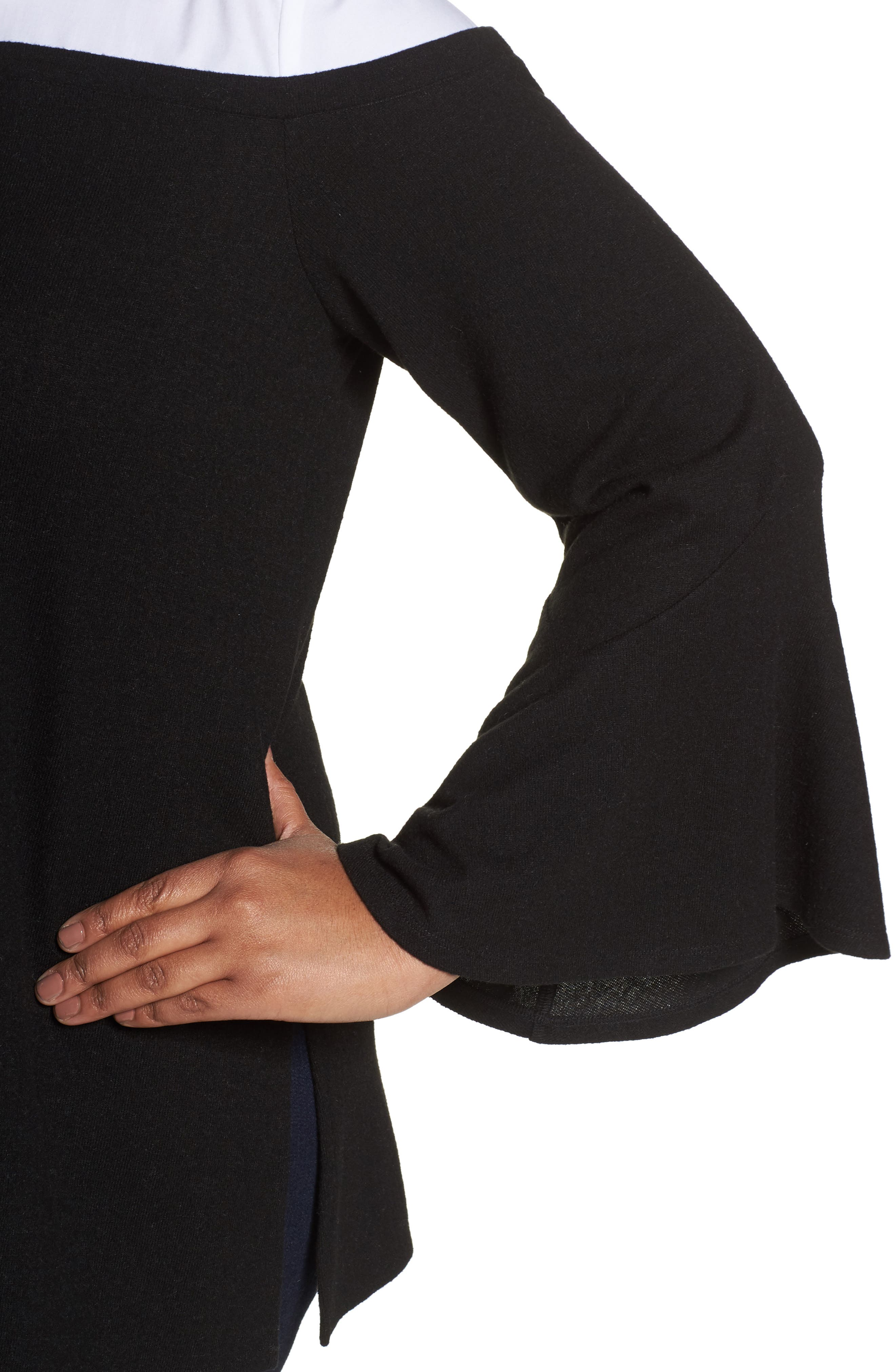 Bell Sleeve Mixed Media Top,                             Alternate thumbnail 4, color,                             006