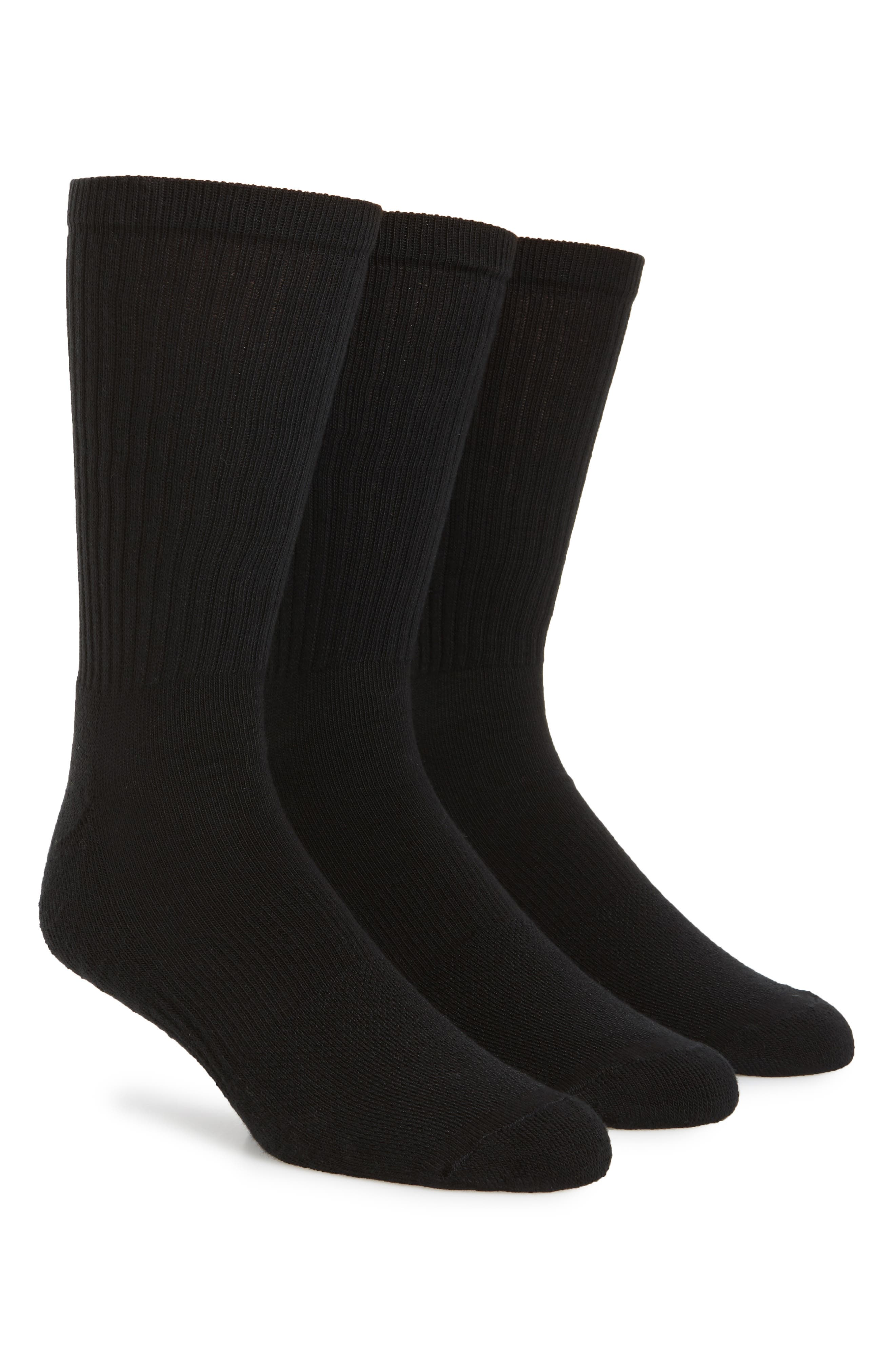 3-Pack Crew Cut Athletic Socks,                             Main thumbnail 1, color,                             BLACK