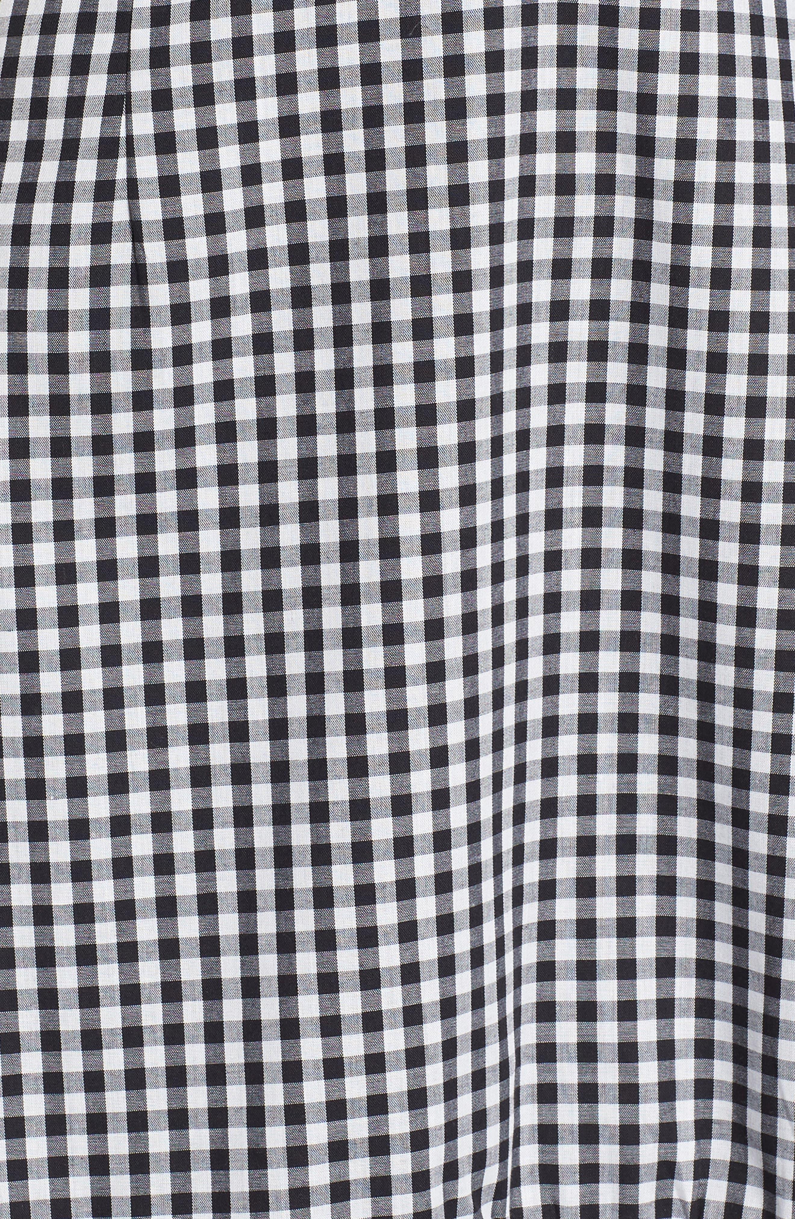 Zander Ruffle Midi Dress,                             Alternate thumbnail 5, color,                             001