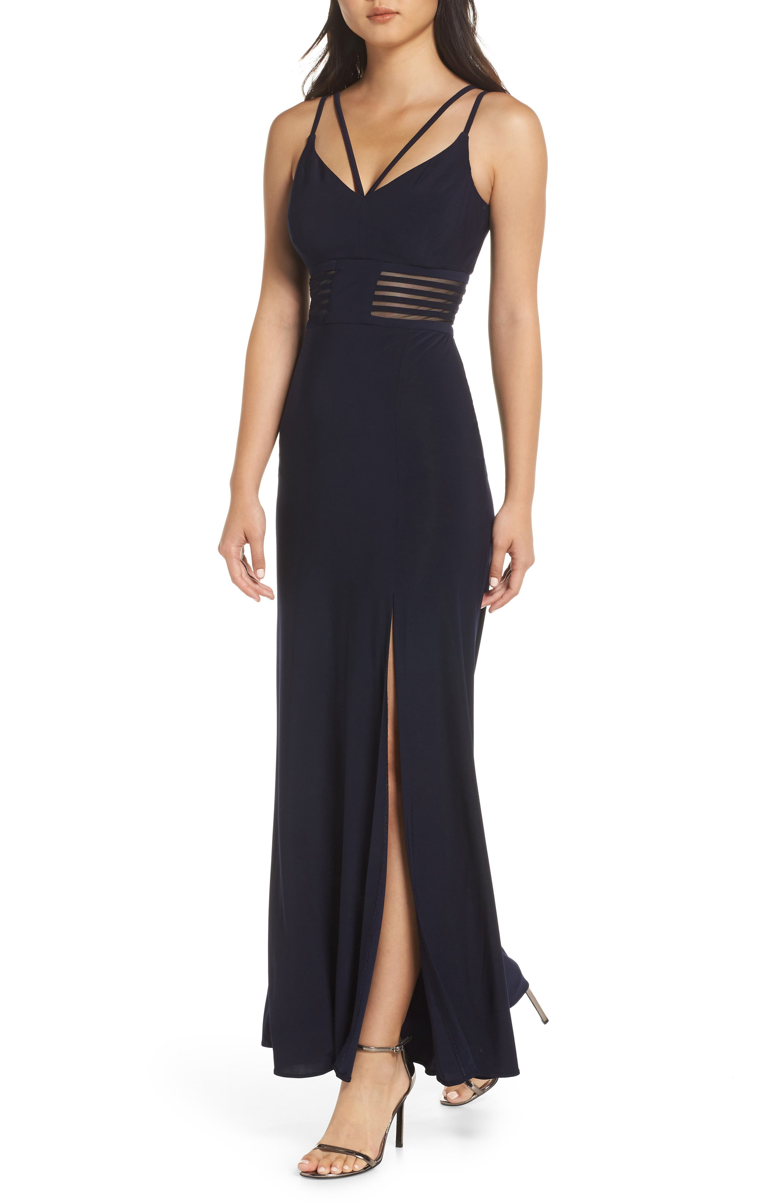 MORGAN & CO. Long Ity Spaghetti Strap Gown, Main, color, NAVY