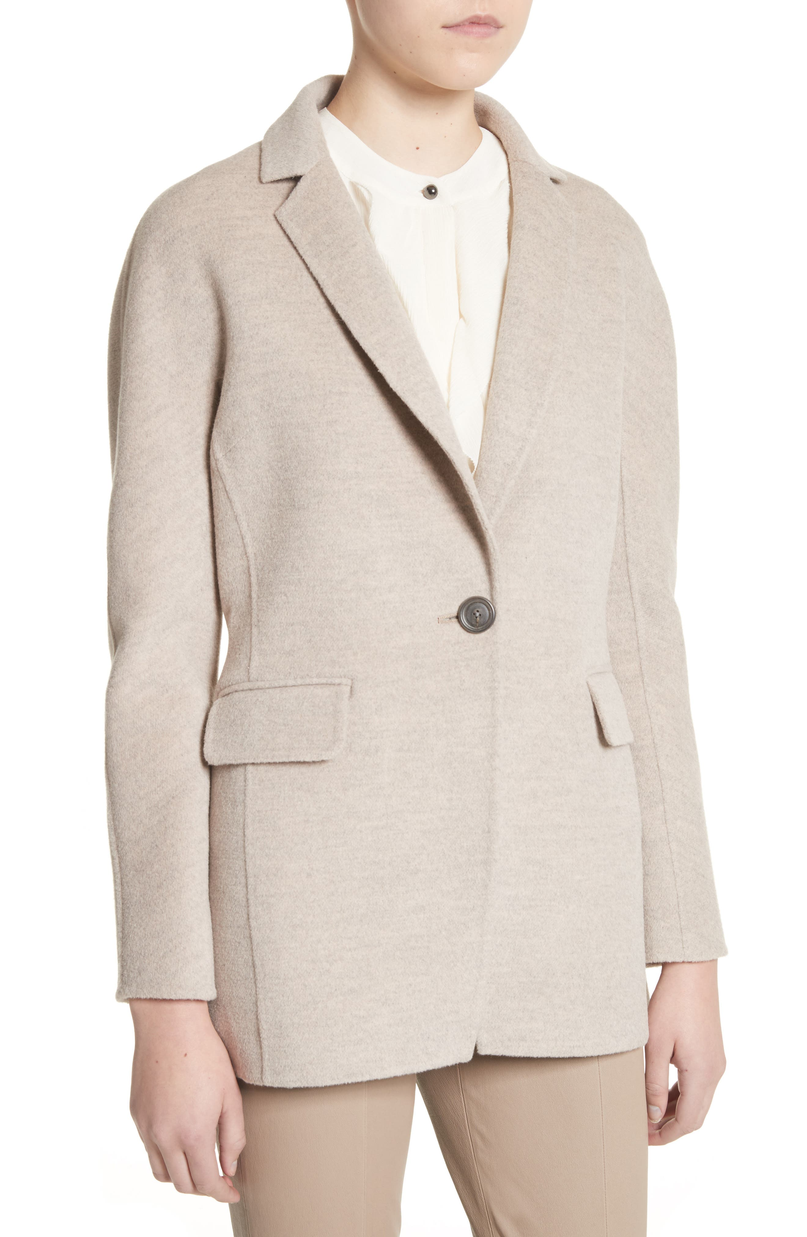 Double Face Wool, Angora & Cashmere Blend Blazer,                             Alternate thumbnail 4, color,                             205