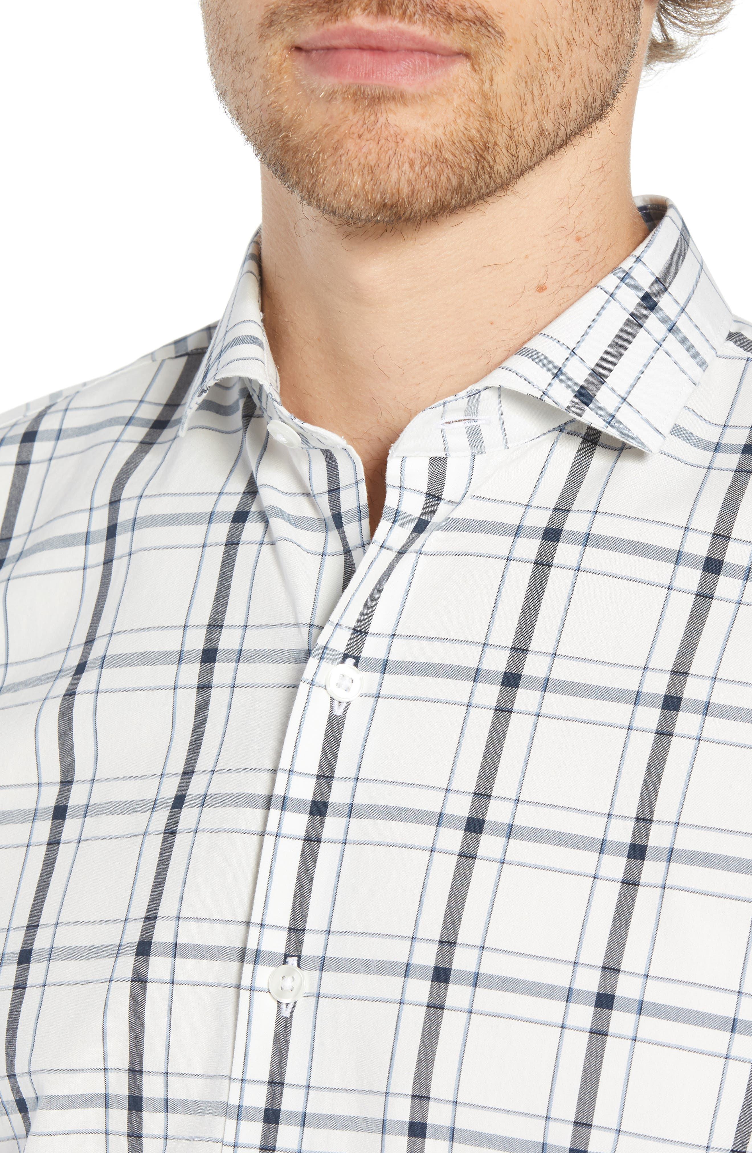 Unbutton Down Slim Fit Plaid Sport Shirt,                             Alternate thumbnail 2, color,                             GOLDHURST PLAID -BLUE JAY