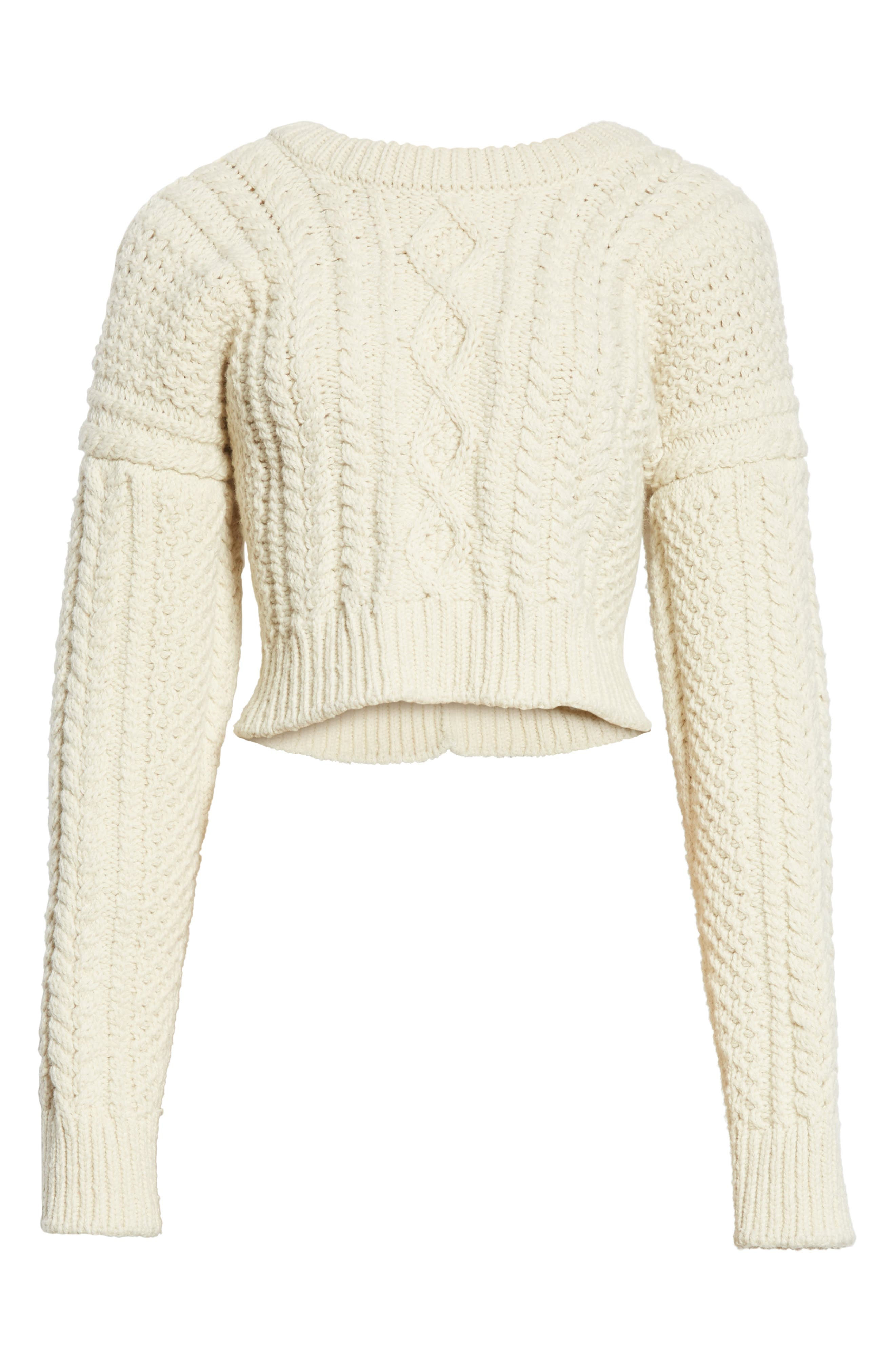 Back Strap Cable Knit Crop Sweater,                             Alternate thumbnail 6, color,                             900