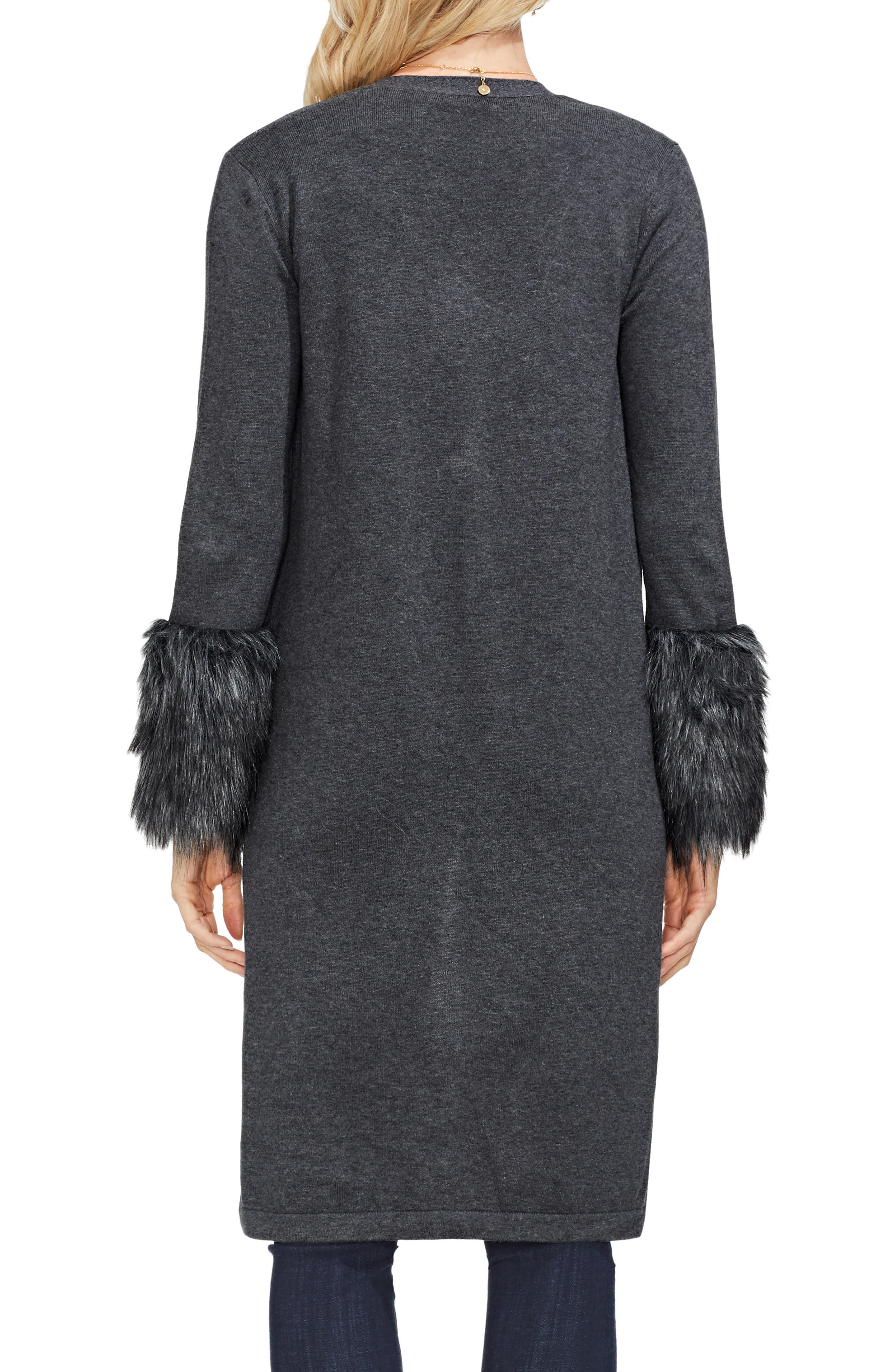 Faux Fur Cuff Cardigan,                             Alternate thumbnail 2, color,                             MED HEATHER GREY