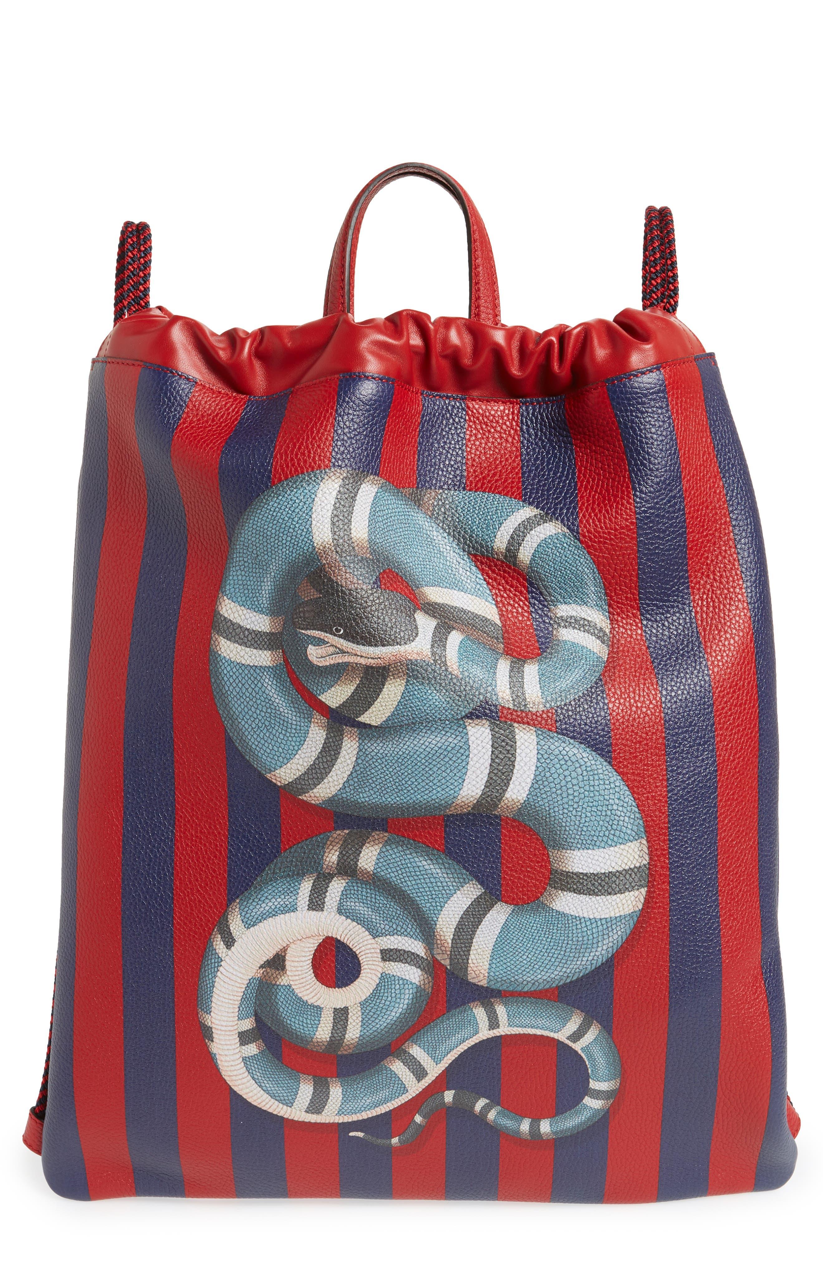 Kingsnake Stripe Leather Drawstring Backpack,                             Main thumbnail 1, color,                             RED