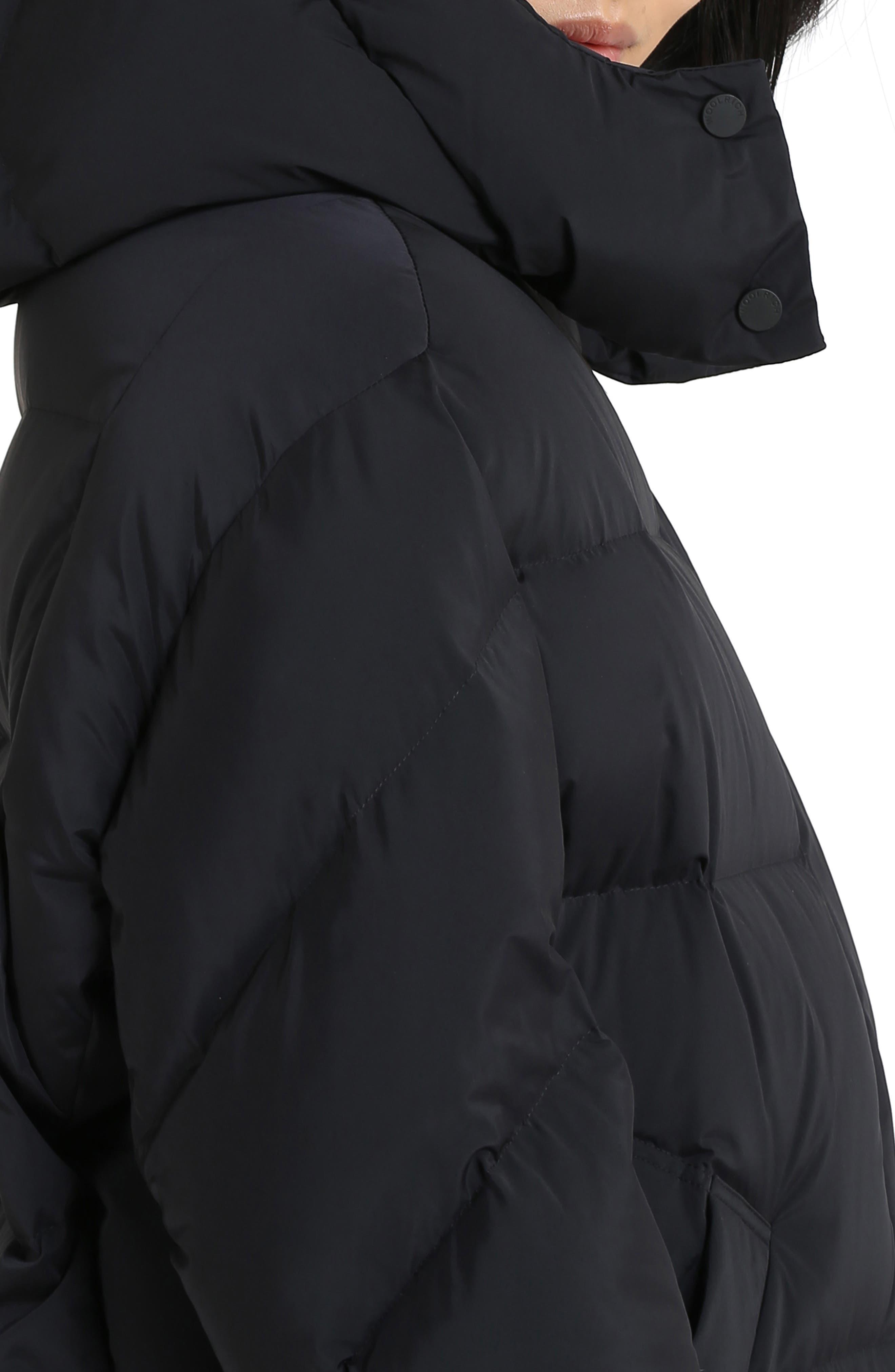 Aurora Water Repellent Puffy Down Coat,                             Alternate thumbnail 3, color,                             BLACK