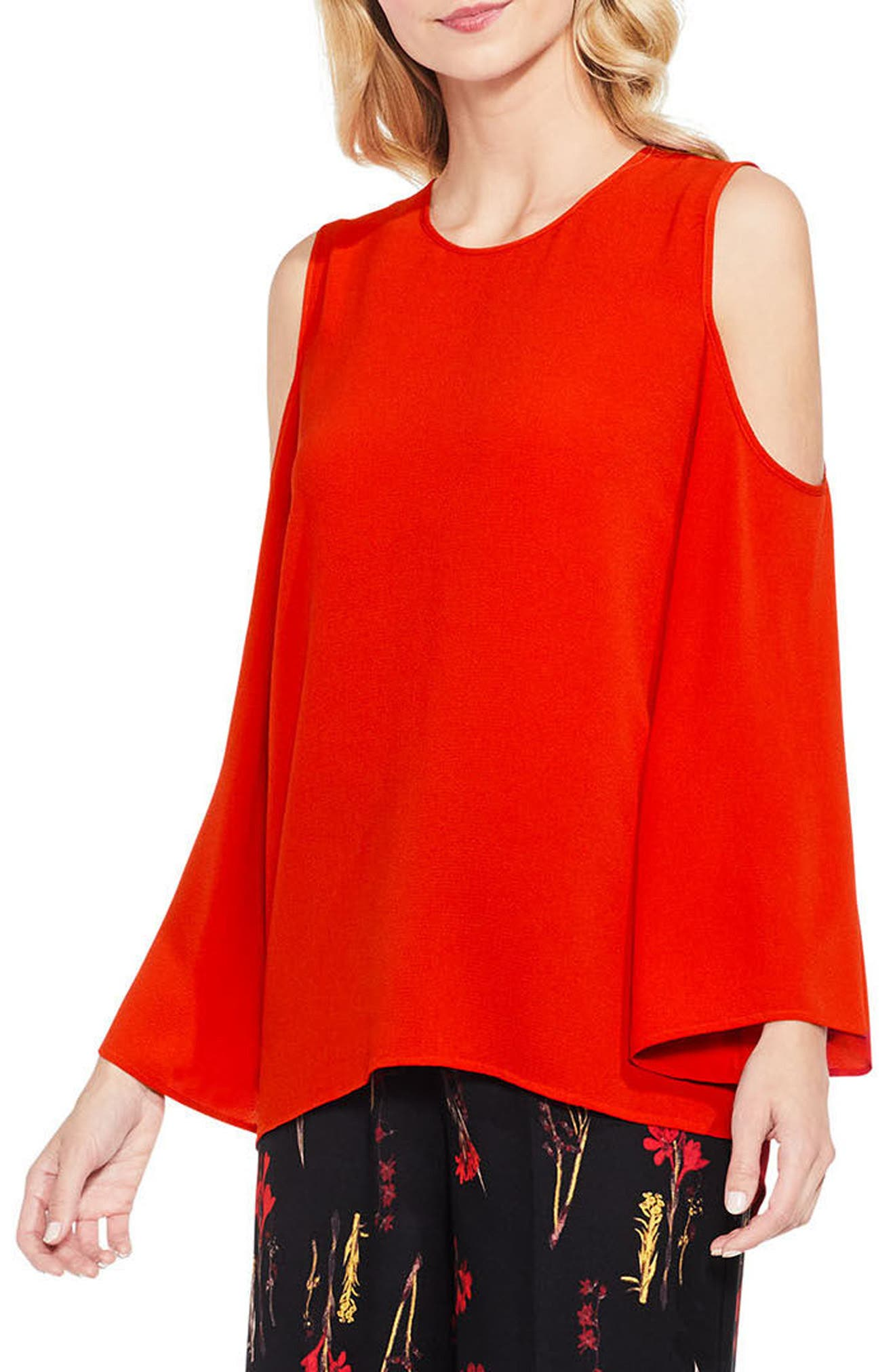 Bell Sleeve Cold Shoulder Blouse,                             Main thumbnail 7, color,