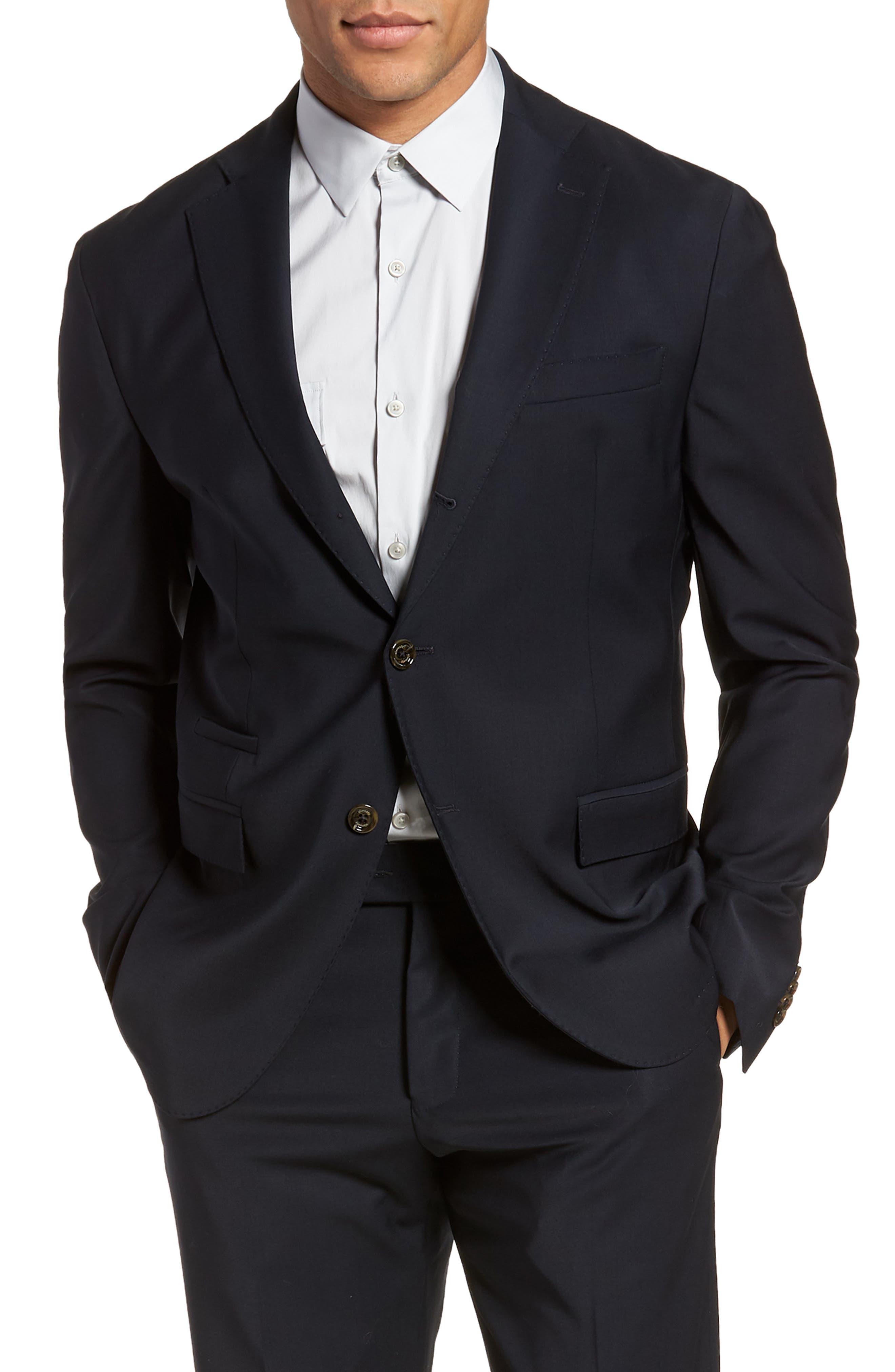 Trim Fit Stretch Wool Suit,                             Alternate thumbnail 10, color,