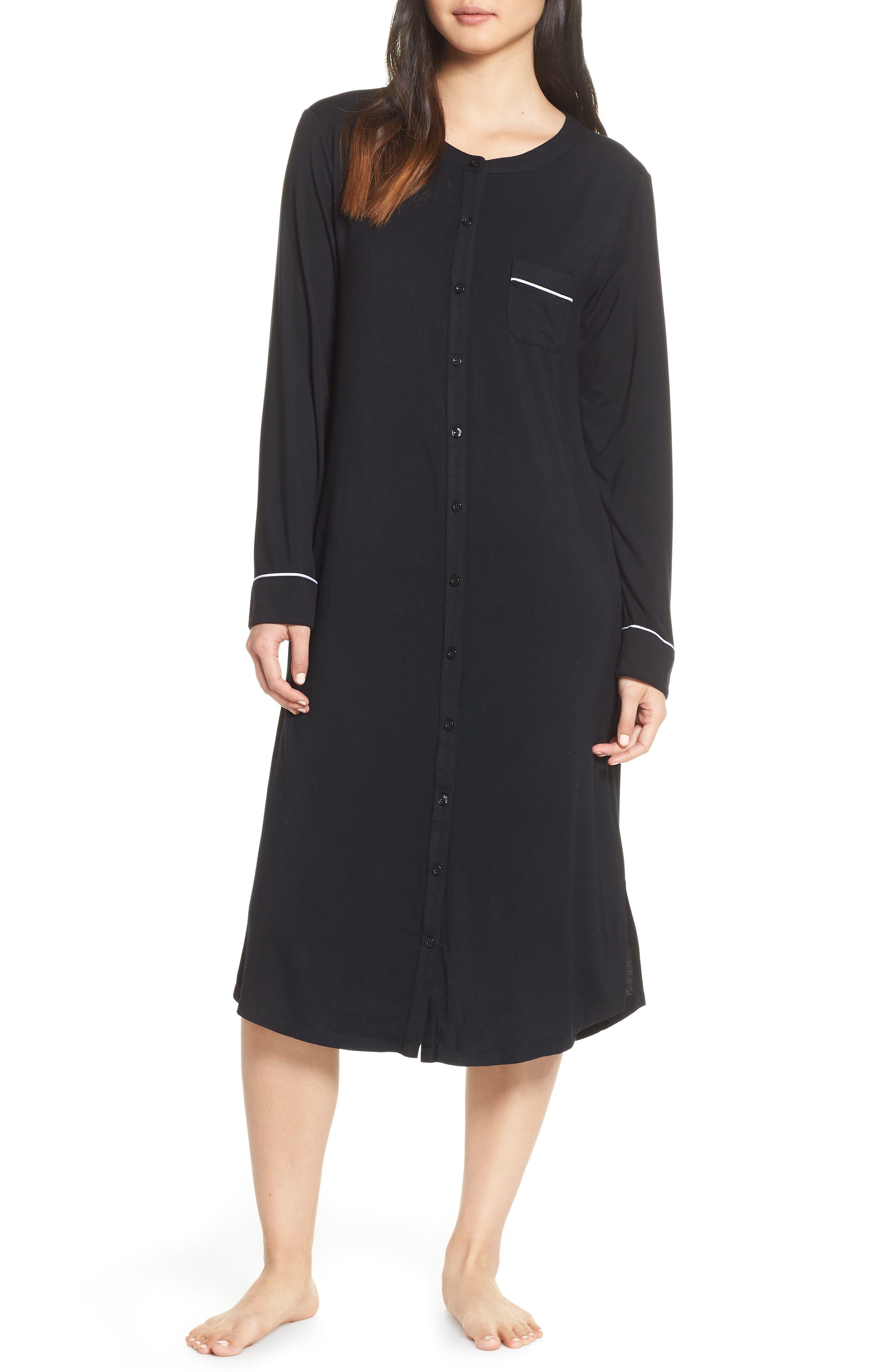 NORDSTROM LINGERIE Nightshirt, Main, color, BLACK