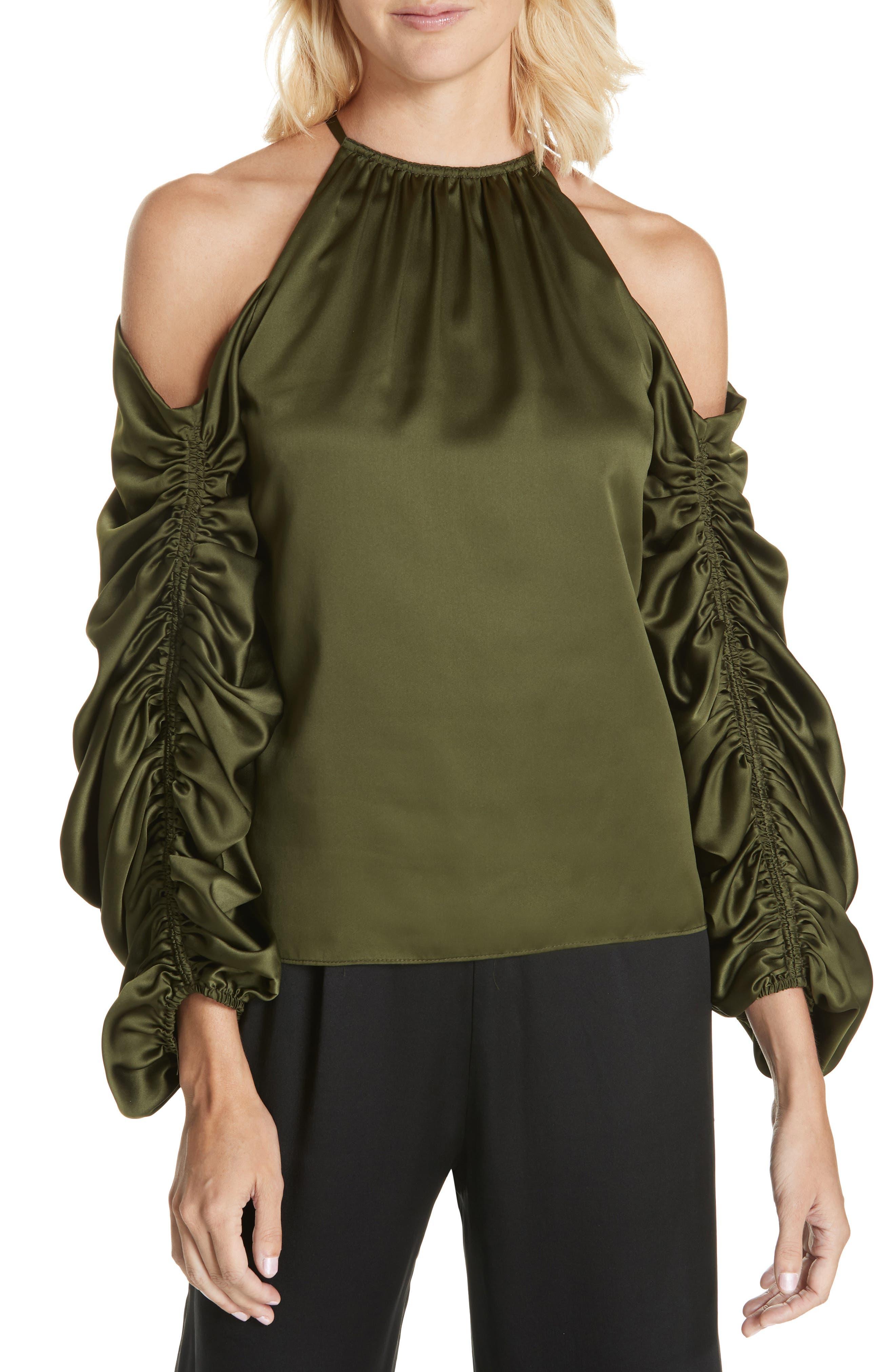 AMUR Nikki Cold Shoulder Blouse in Olive