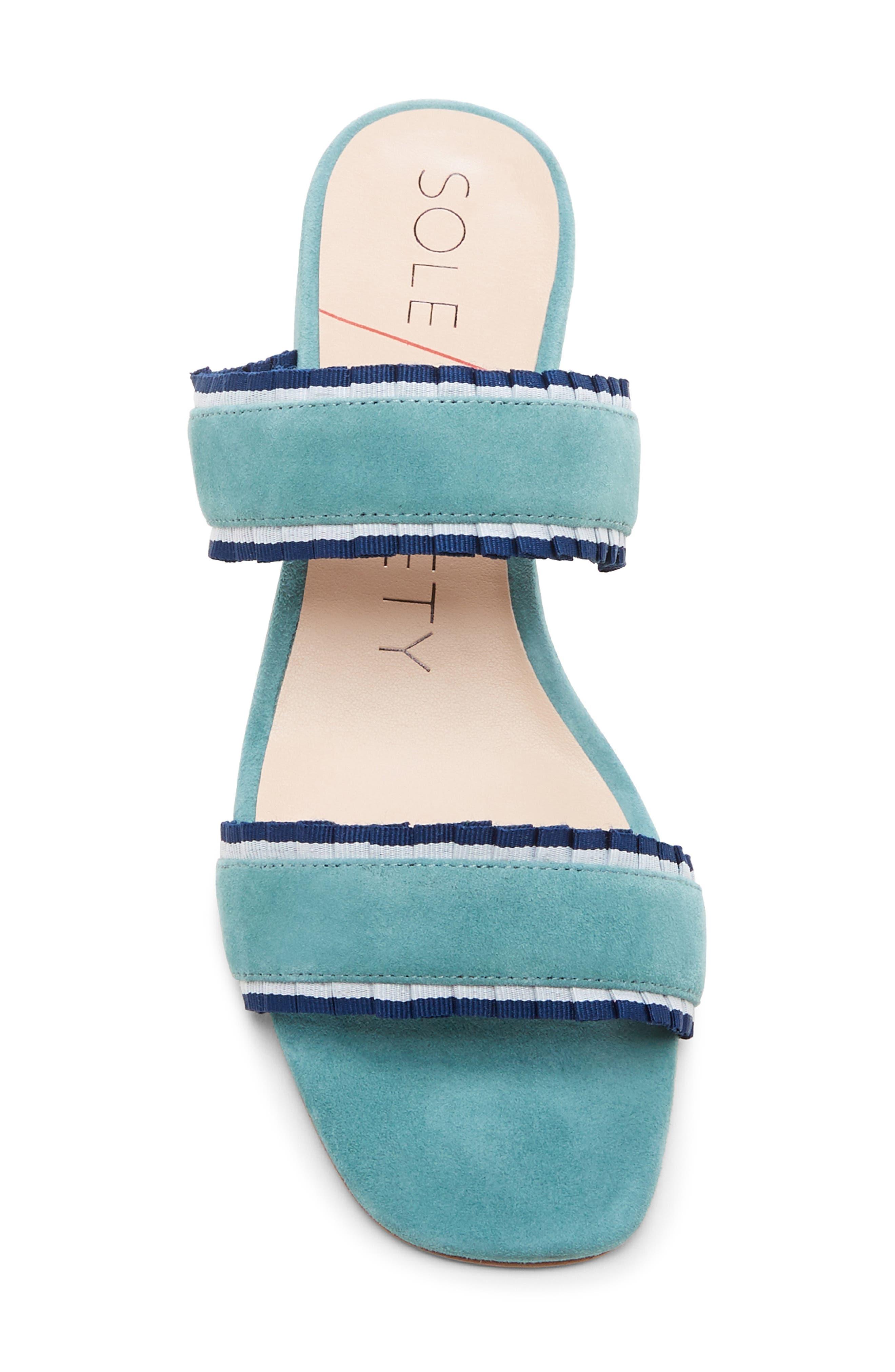 SOLE SOCIETY,                             Elura Slide Sandal,                             Alternate thumbnail 5, color,                             LIGHT SEA GREEN SUEDE