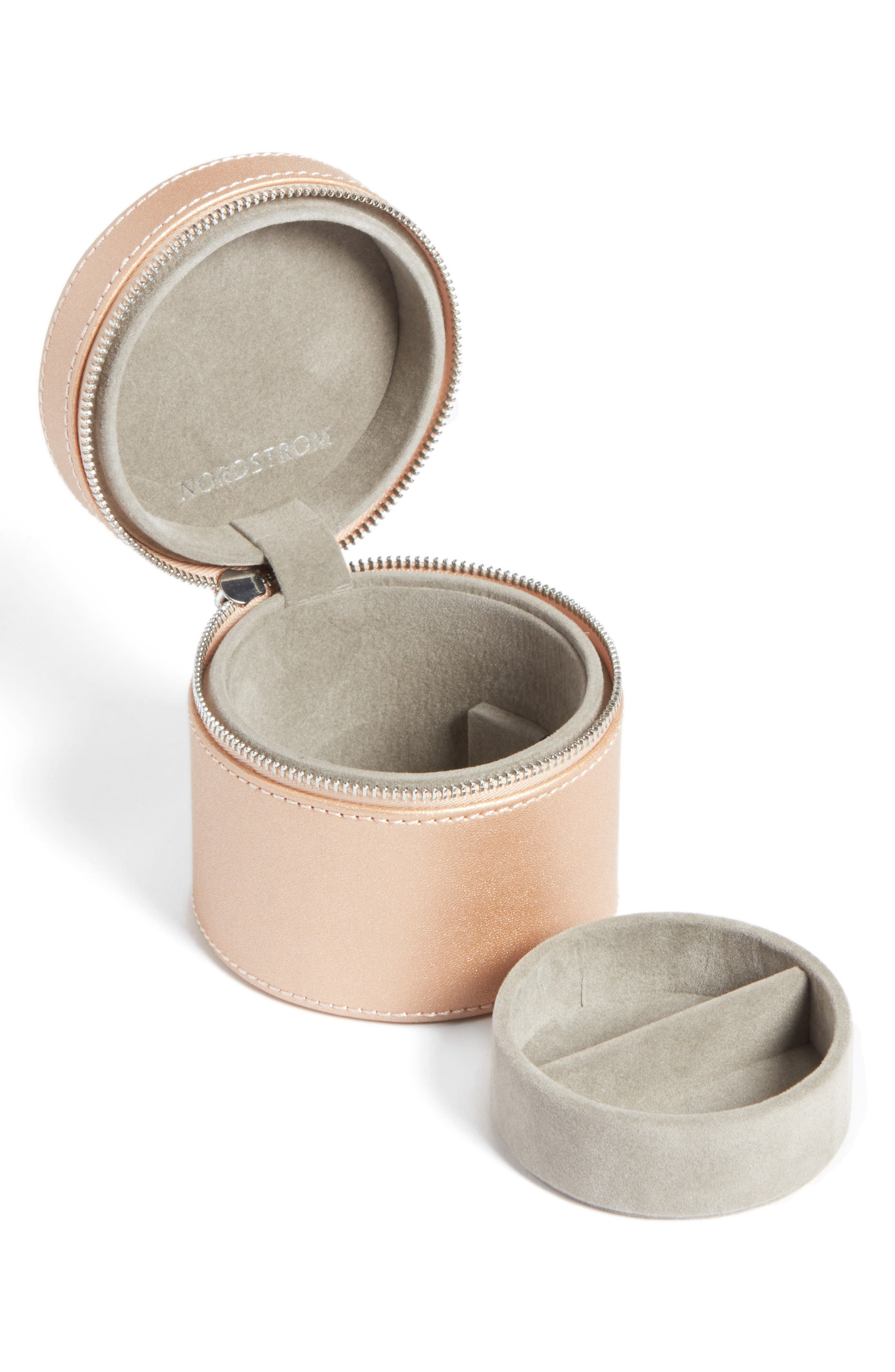 Small Round Zippered Jewelry Case,                             Alternate thumbnail 6, color,