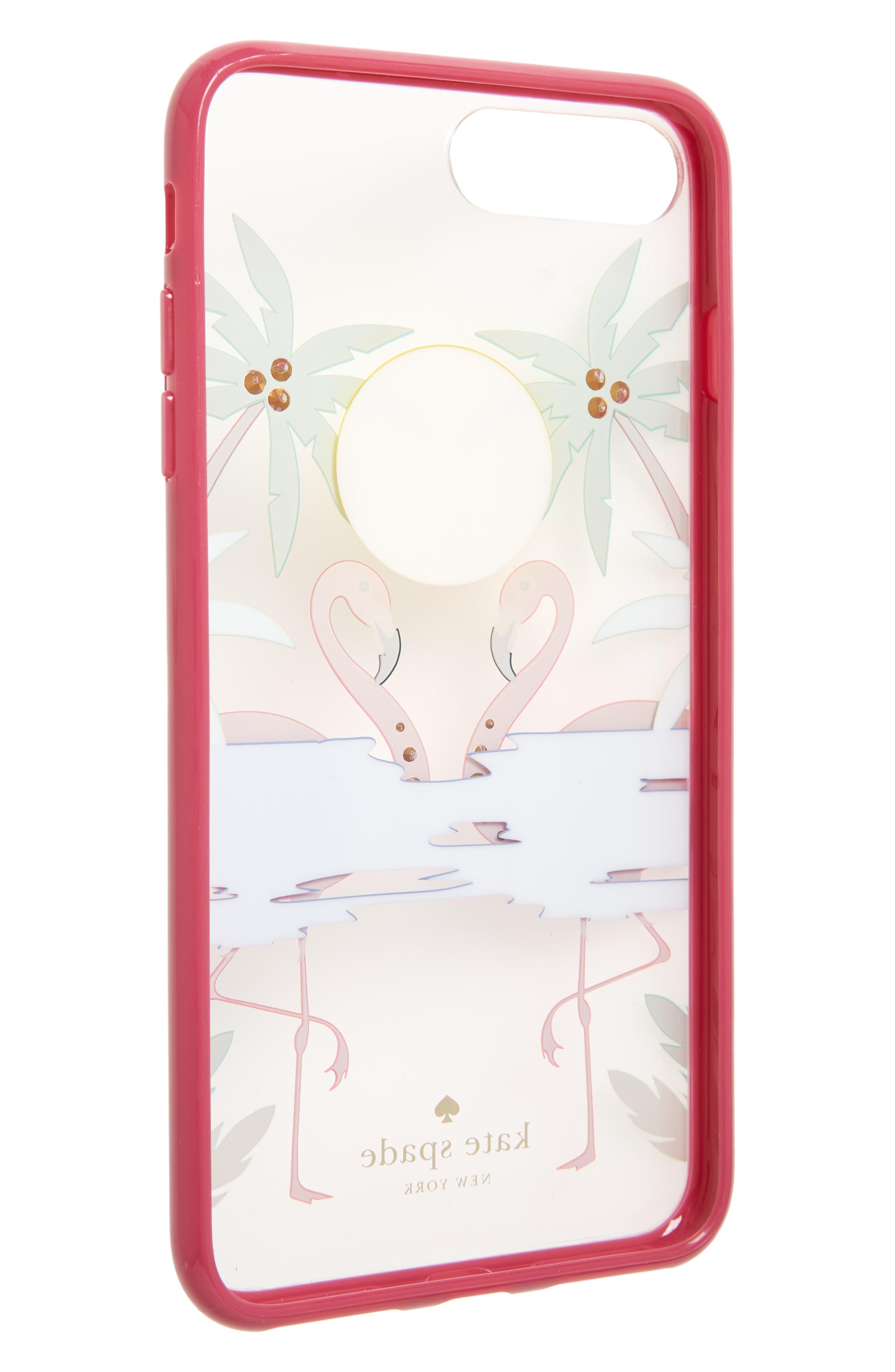 KATE SPADE NEW YORK,                             crystal embellished flamingos iPhone 7/8 & 7/8 Plus Case,                             Alternate thumbnail 2, color,                             650