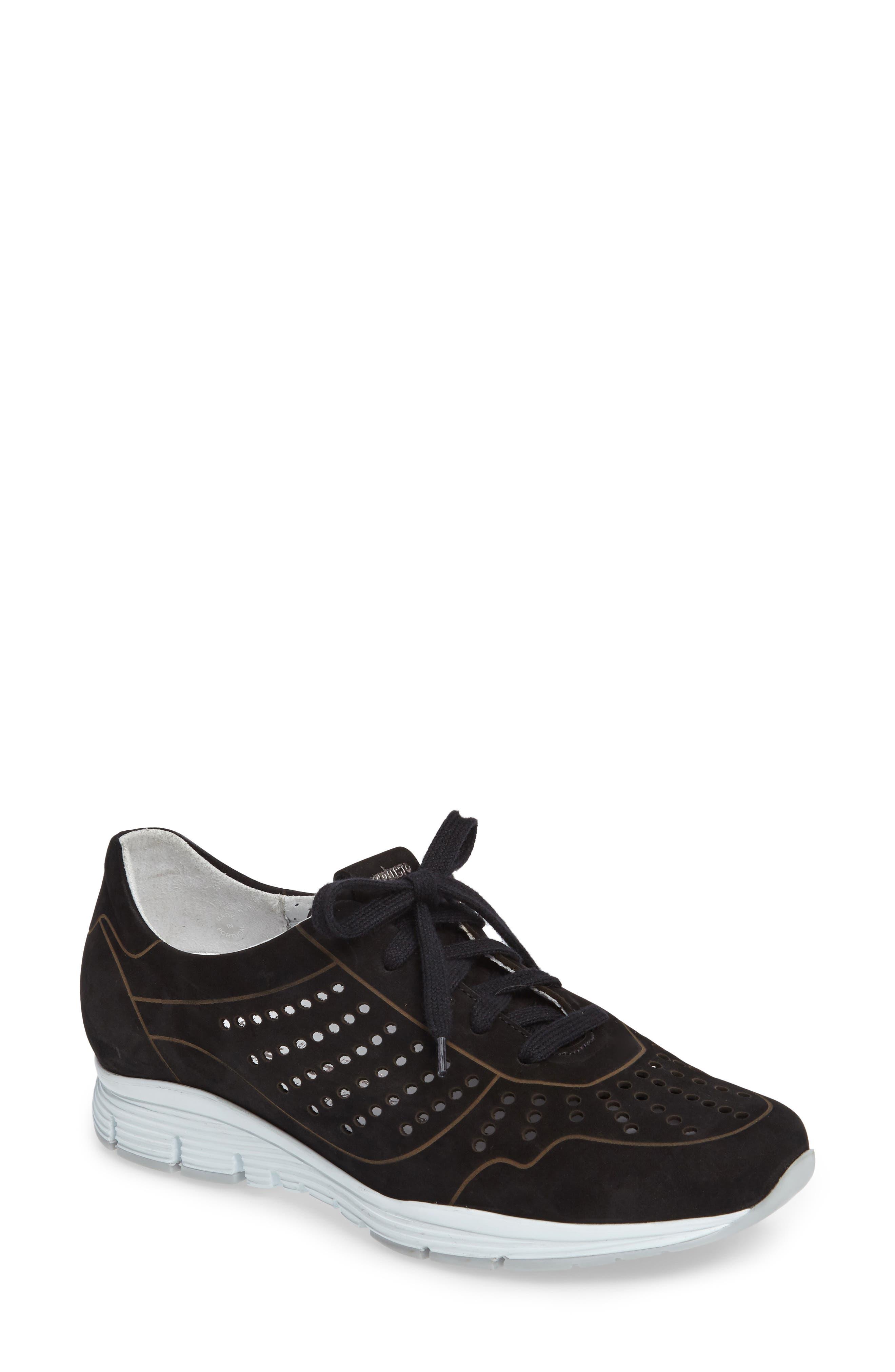 Yliane Sneaker,                         Main,                         color, BLACK NUBUCK LEATHER