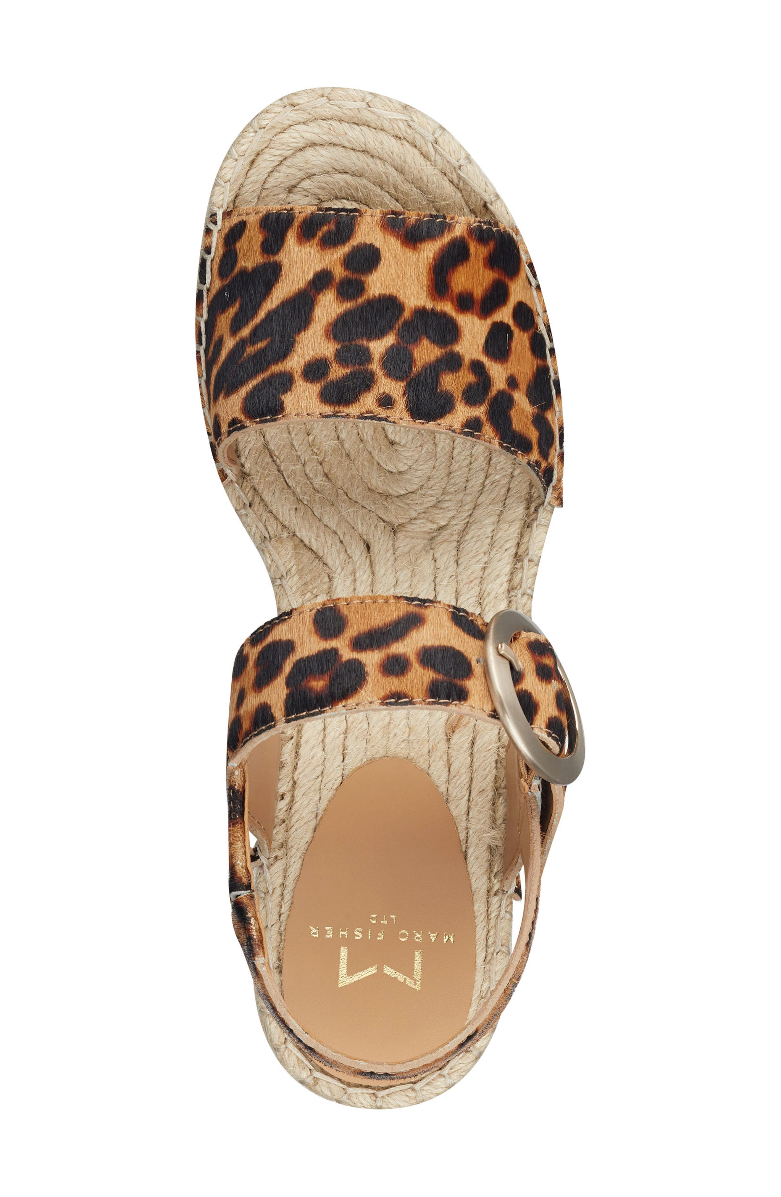 MARC FISHER LTD,                             Rexly Espadrille Platform Sandal,                             Alternate thumbnail 5, color,                             LEOPARD HAIR CALF