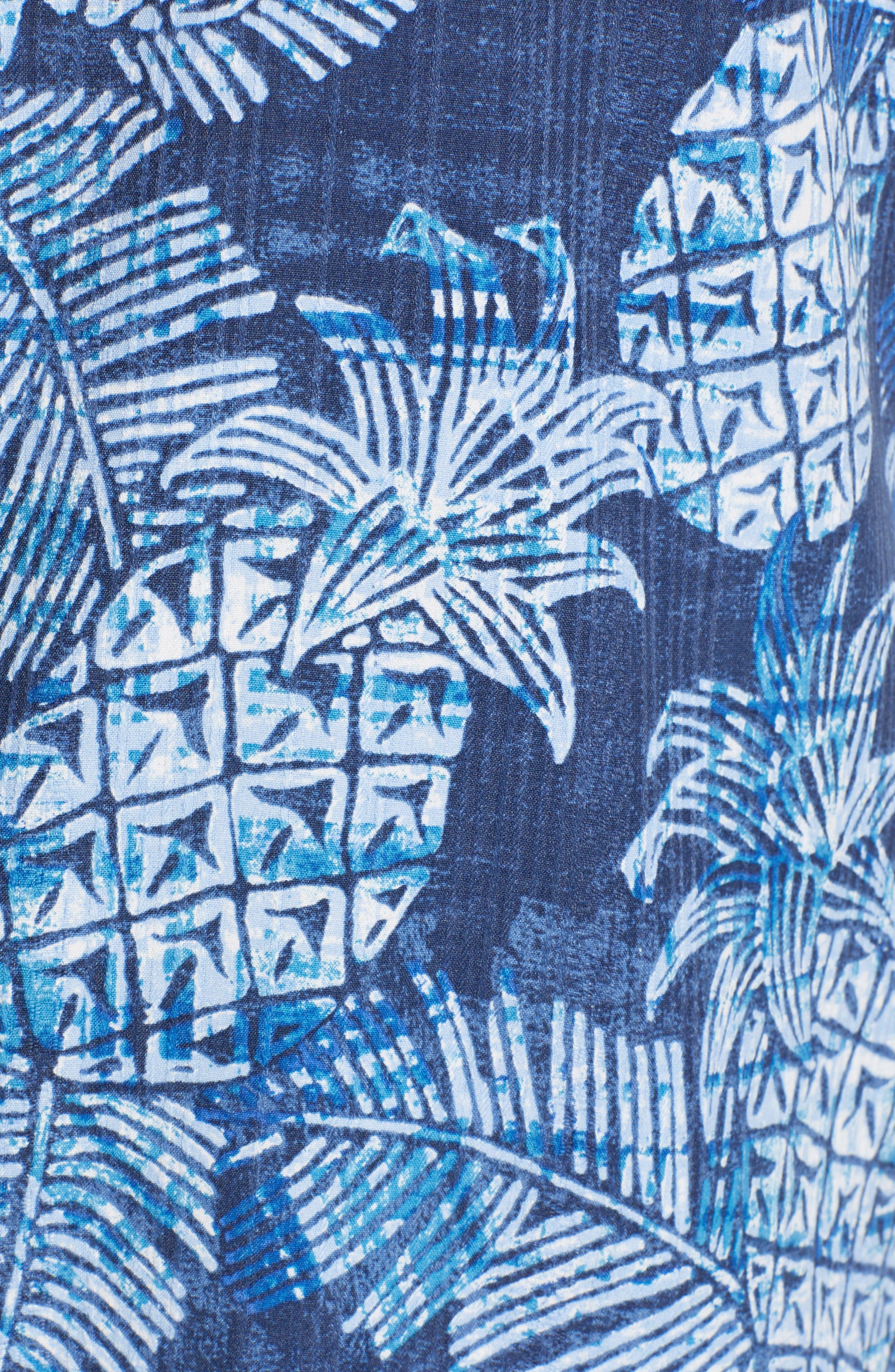 Coastal Colada Silk Blend Camp Shirt,                             Alternate thumbnail 5, color,                             ZEPHYR BLUE