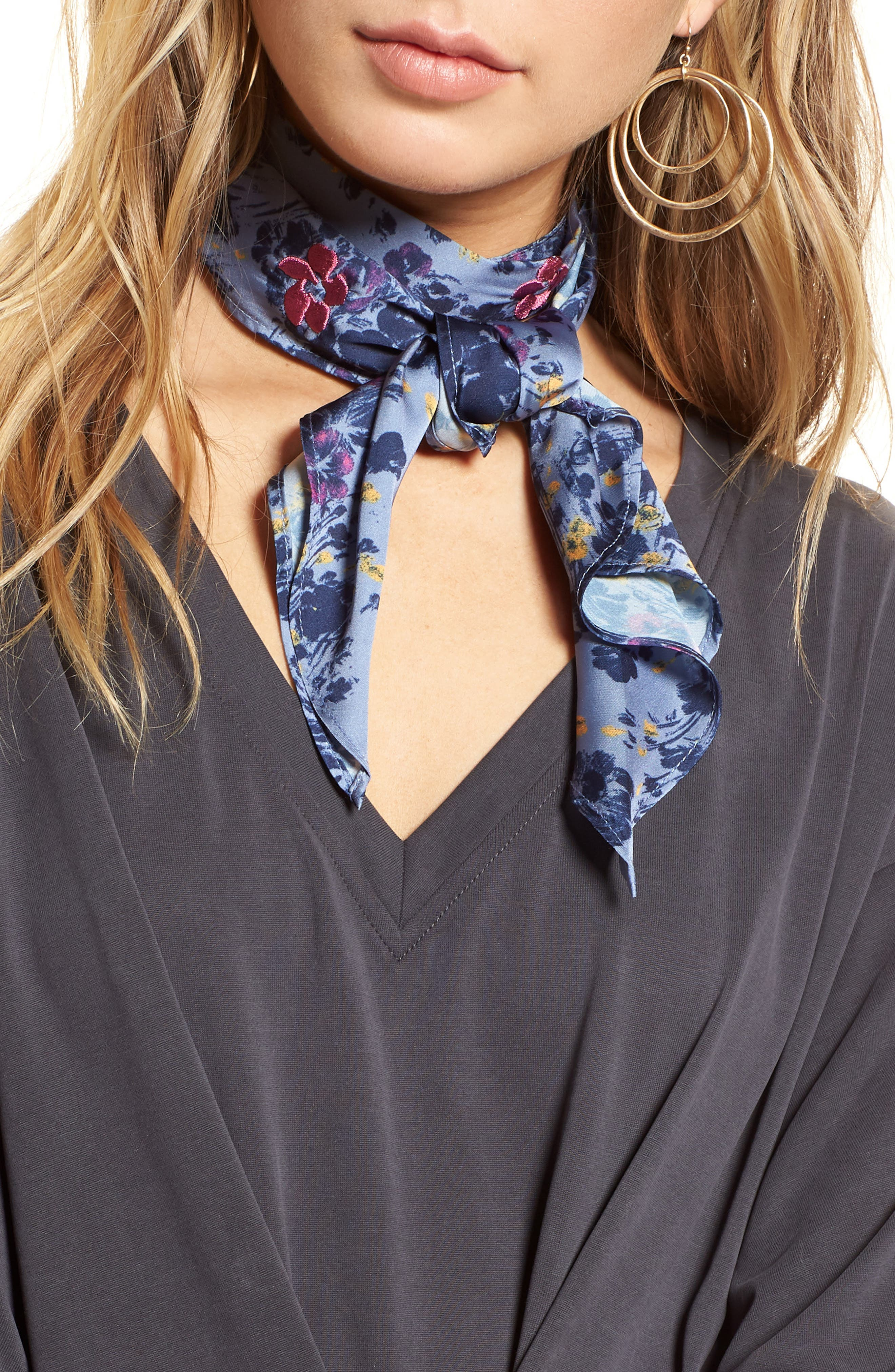 Print Short Tie Scarf,                         Main,                         color, BLUE MINI MOODY FLORAL