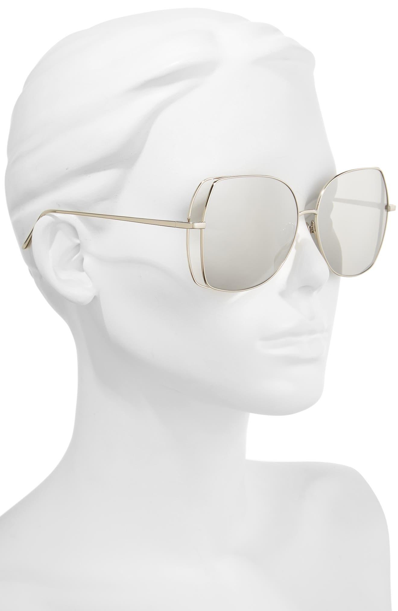 61mm Mirrored 18 Karat White Gold Sunglasses,                             Alternate thumbnail 2, color,