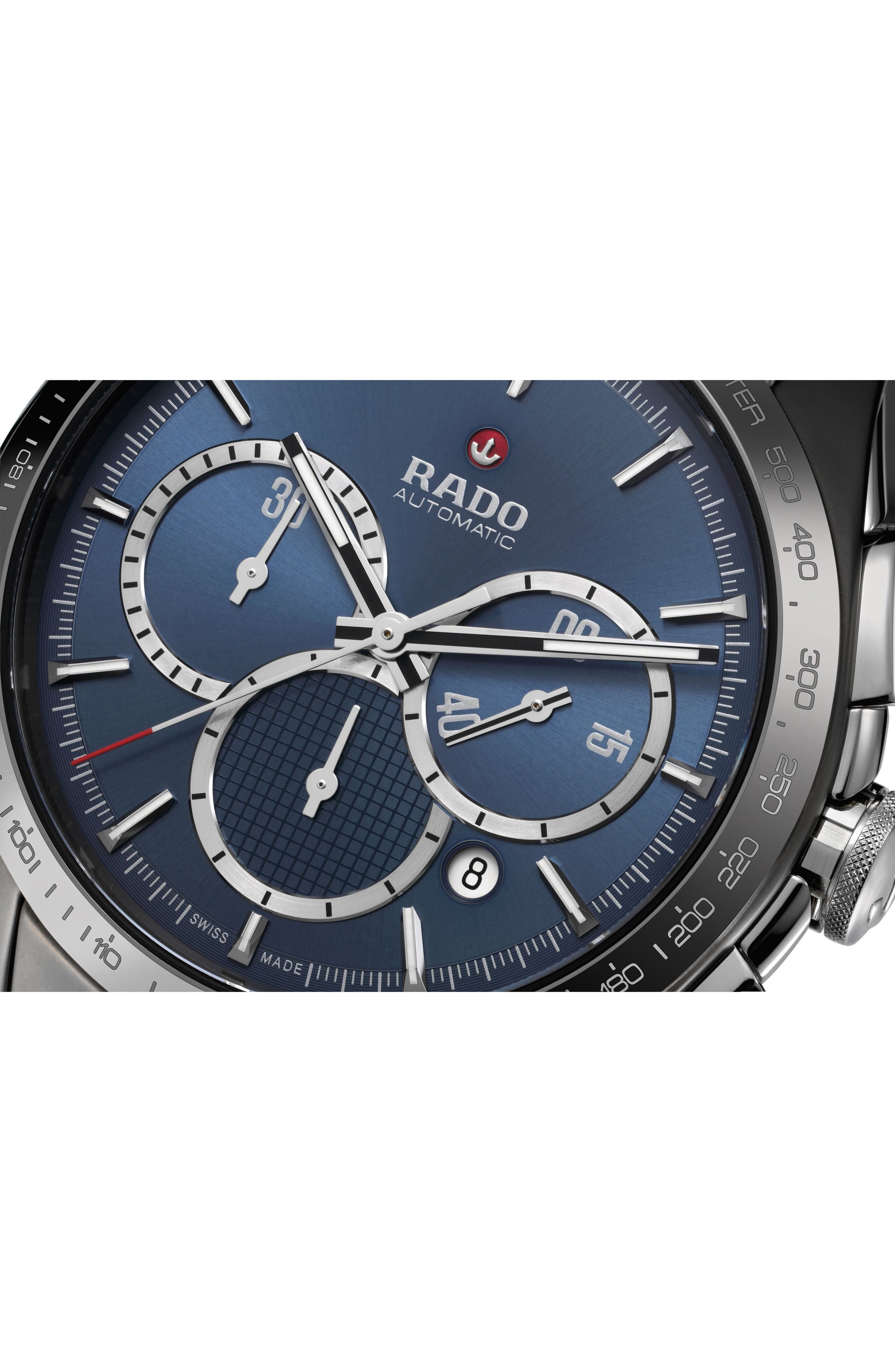 HyperChrome Match Point Automatic Chronograph Watch, 45mm,                             Alternate thumbnail 4, color,                             SILVER/ BLUE/ SILVER