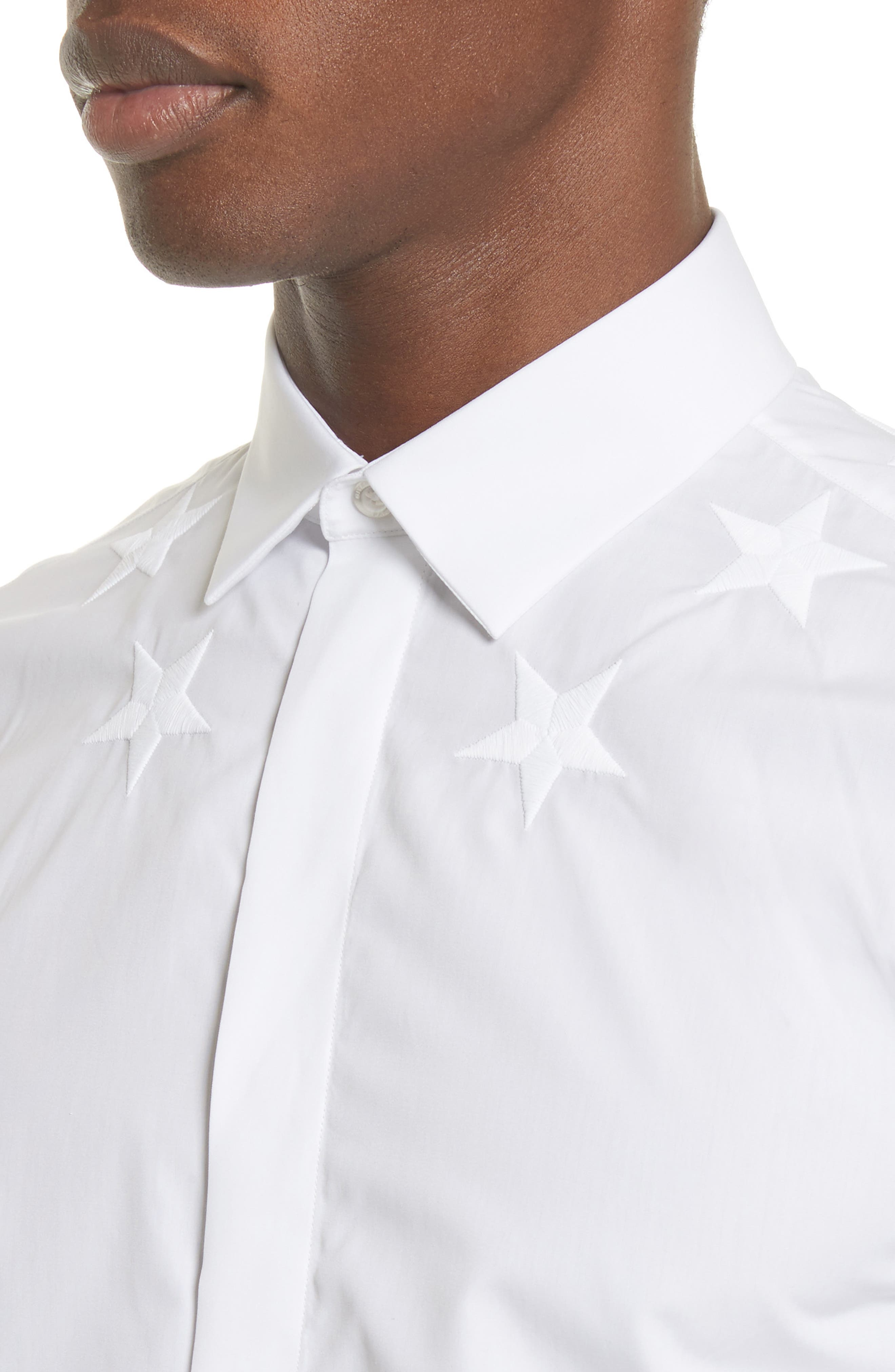 Embroidered Star Dress Shirt,                             Alternate thumbnail 5, color,                             100